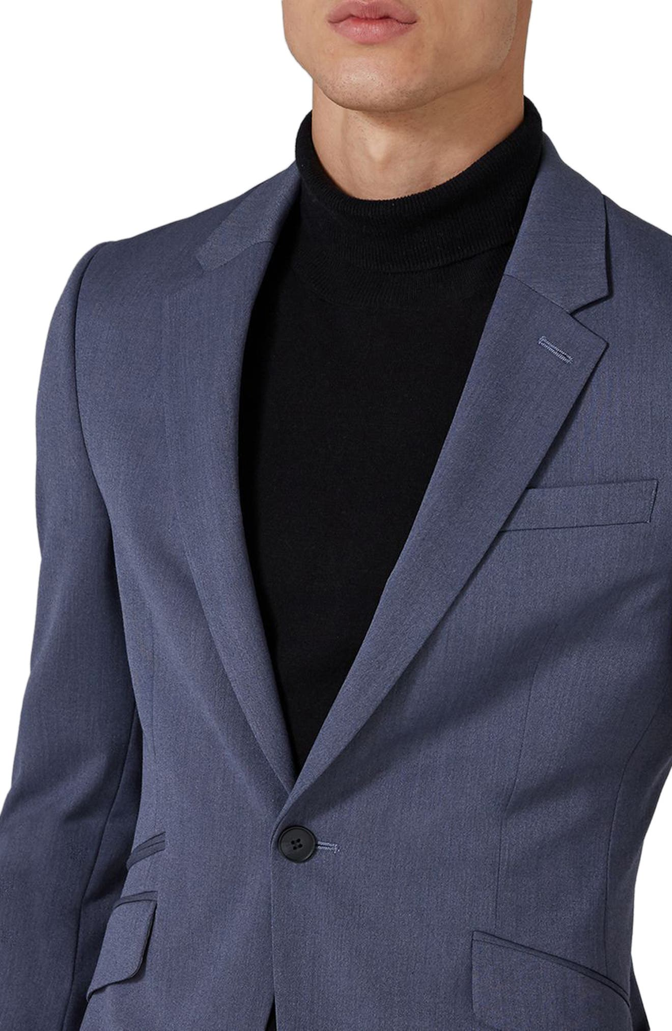 Muscle Fit Suit Jacket,                             Alternate thumbnail 4, color,                             Mid Blue