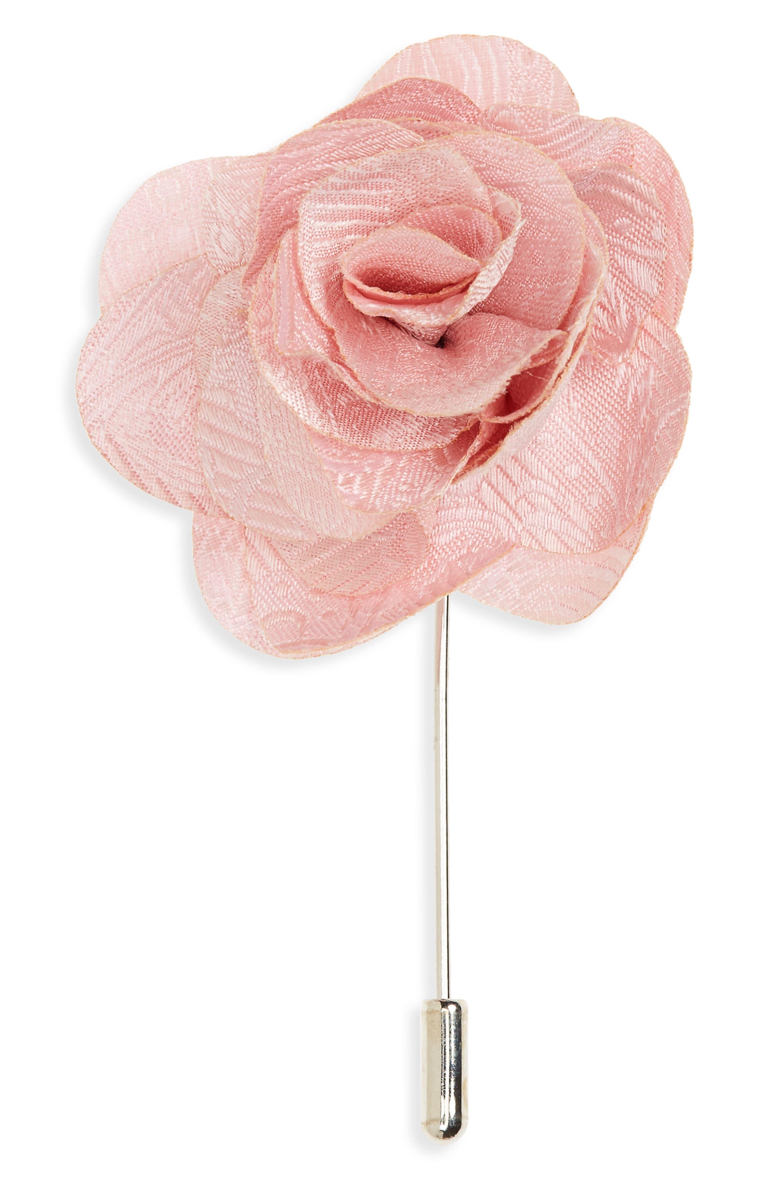 Twill Paisley Silk Lapel Flower,                         Main,                         color, Blush Pink