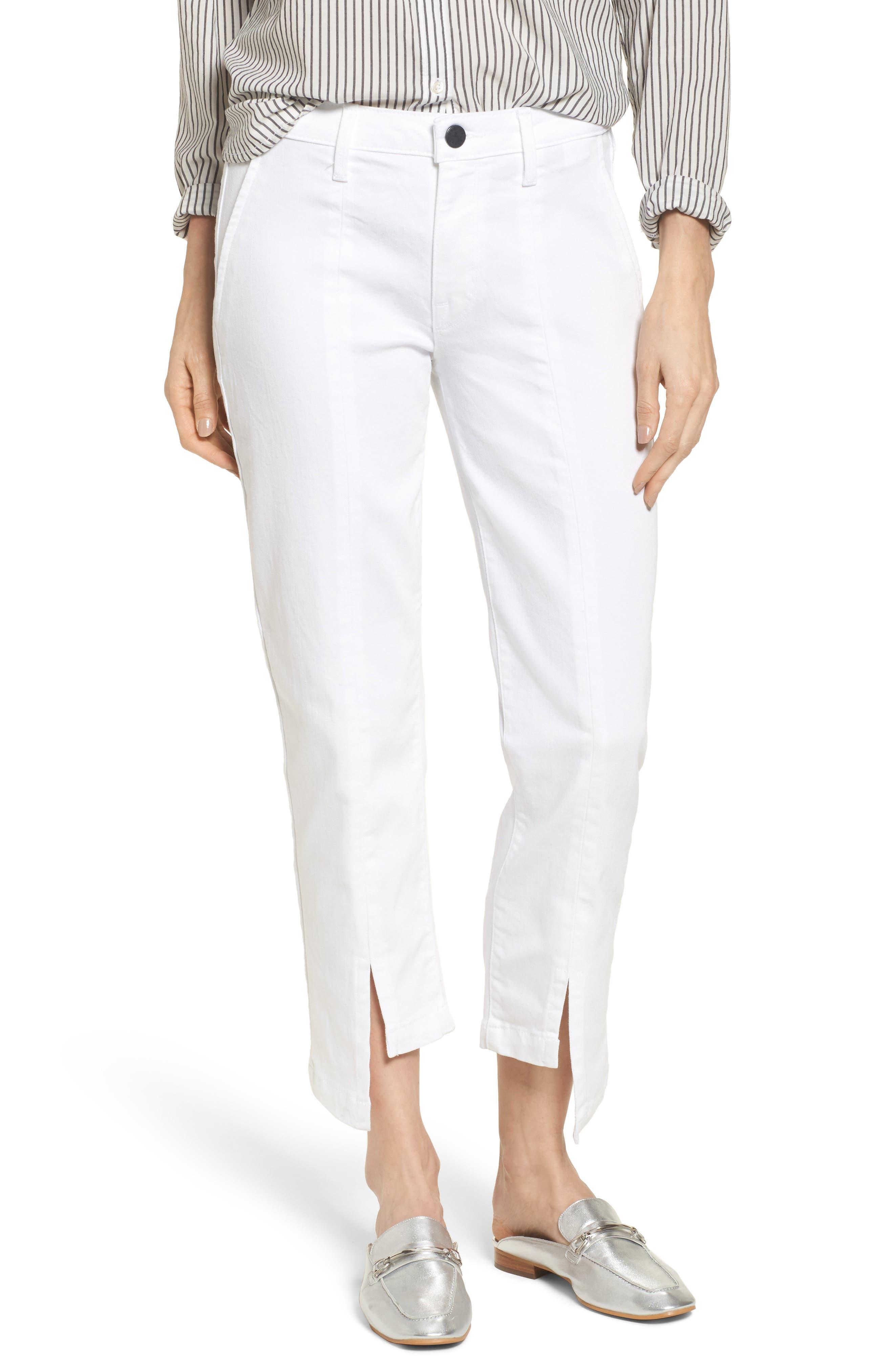 Novak High/Low Hem Trousers,                         Main,                         color, Eternal White