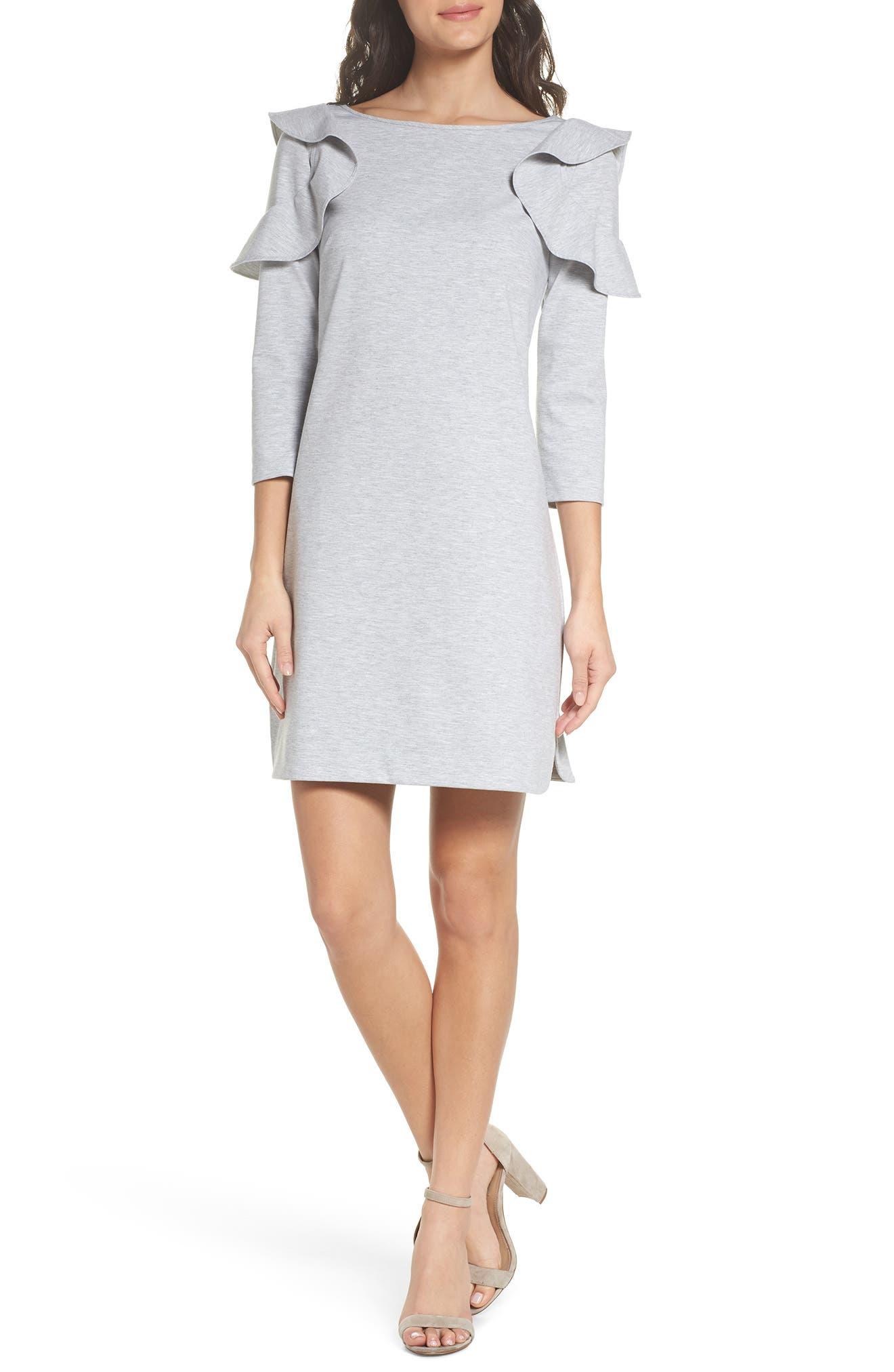 Ruffle Shoulder Sweatshirt Dress,                             Main thumbnail 1, color,                             Heather Grey
