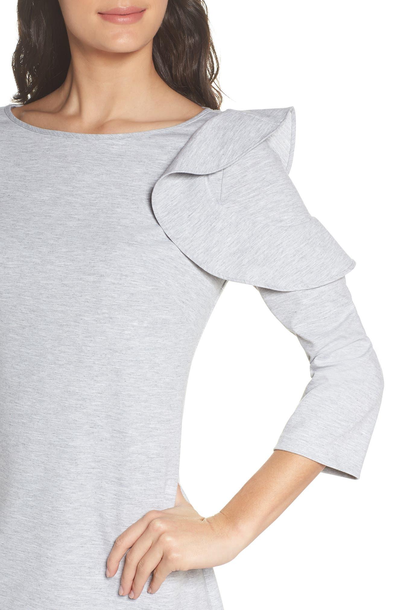 Ruffle Shoulder Sweatshirt Dress,                             Alternate thumbnail 4, color,                             Heather Grey