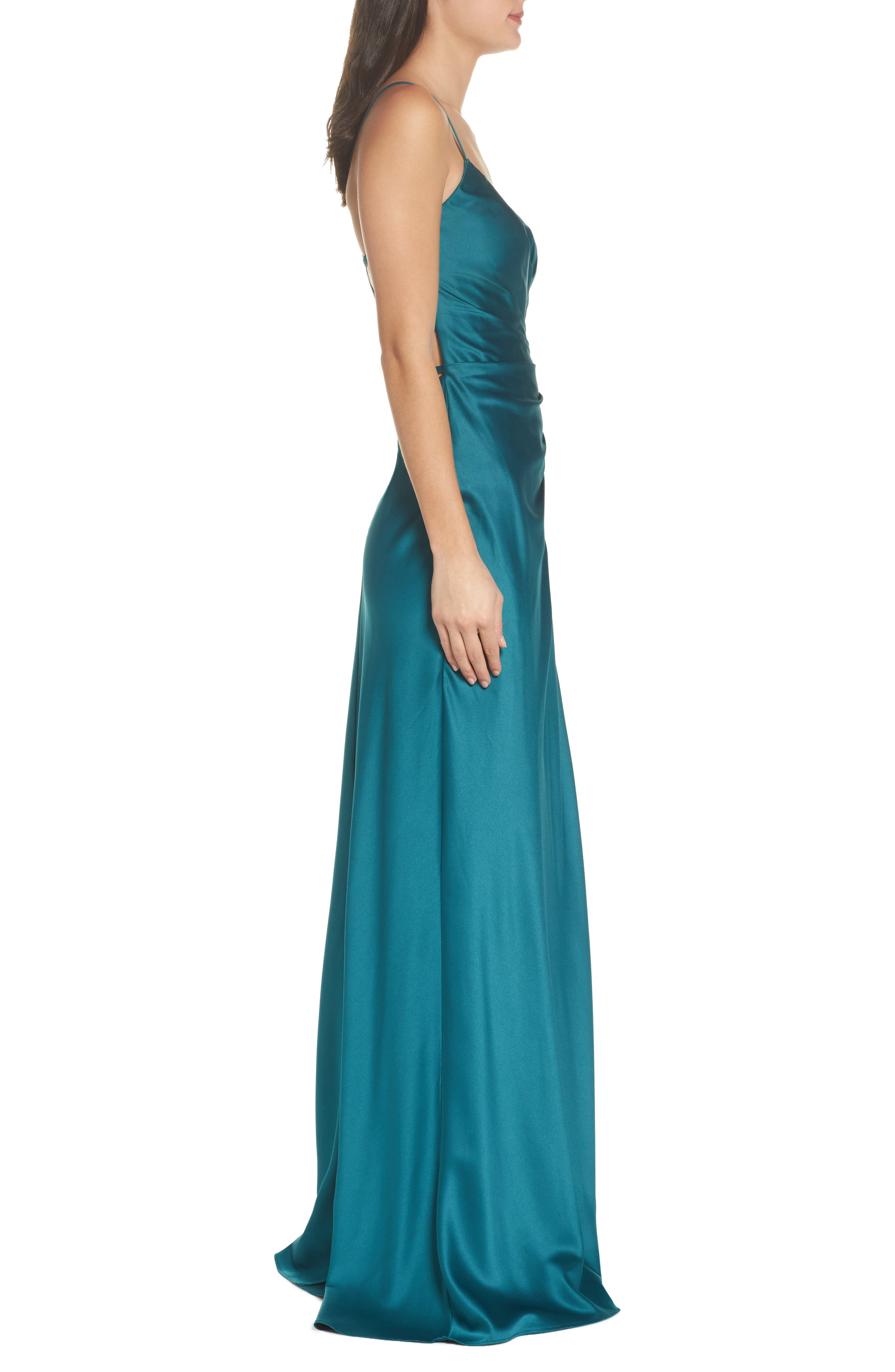 Strappy Ruched Bodice Gown,                             Alternate thumbnail 3, color,                             Forest Green