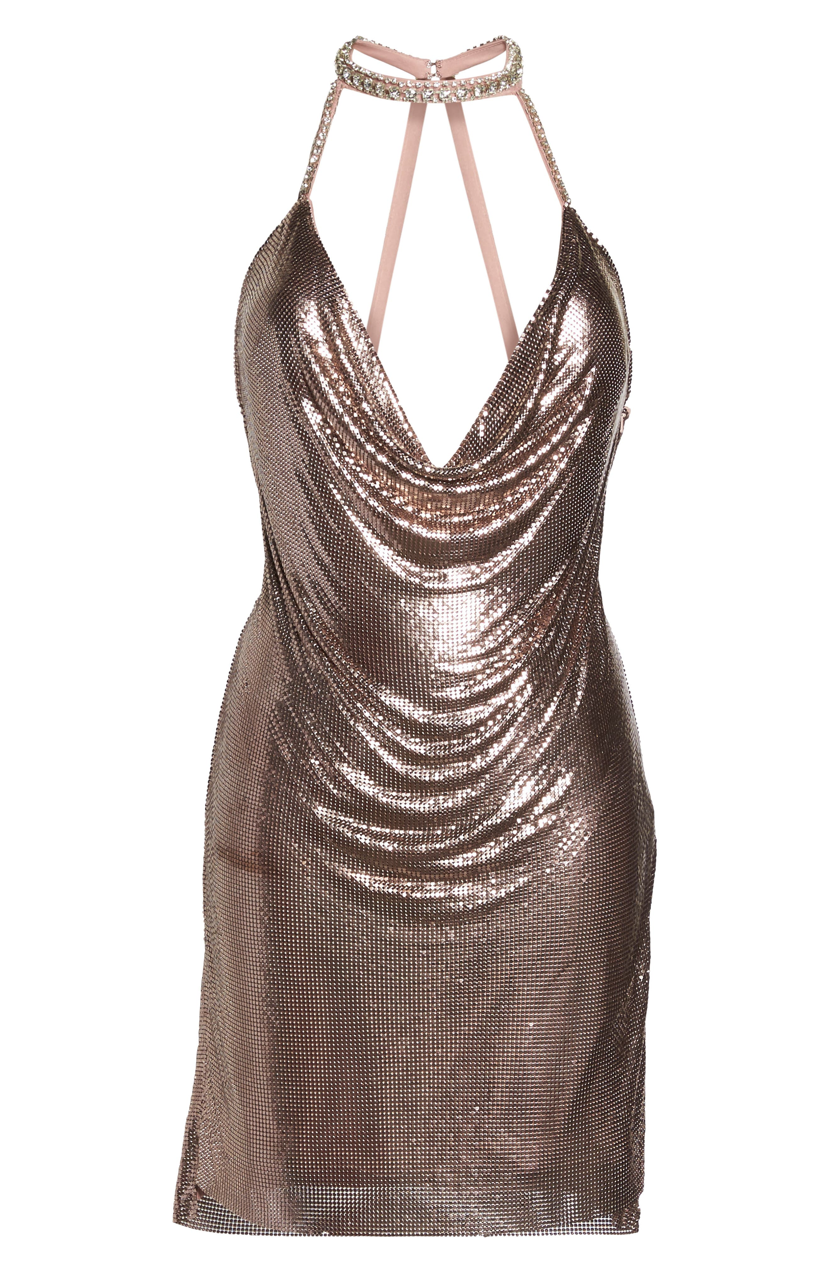 Embellished Halter Neck Dress,                             Alternate thumbnail 6, color,                             Blush