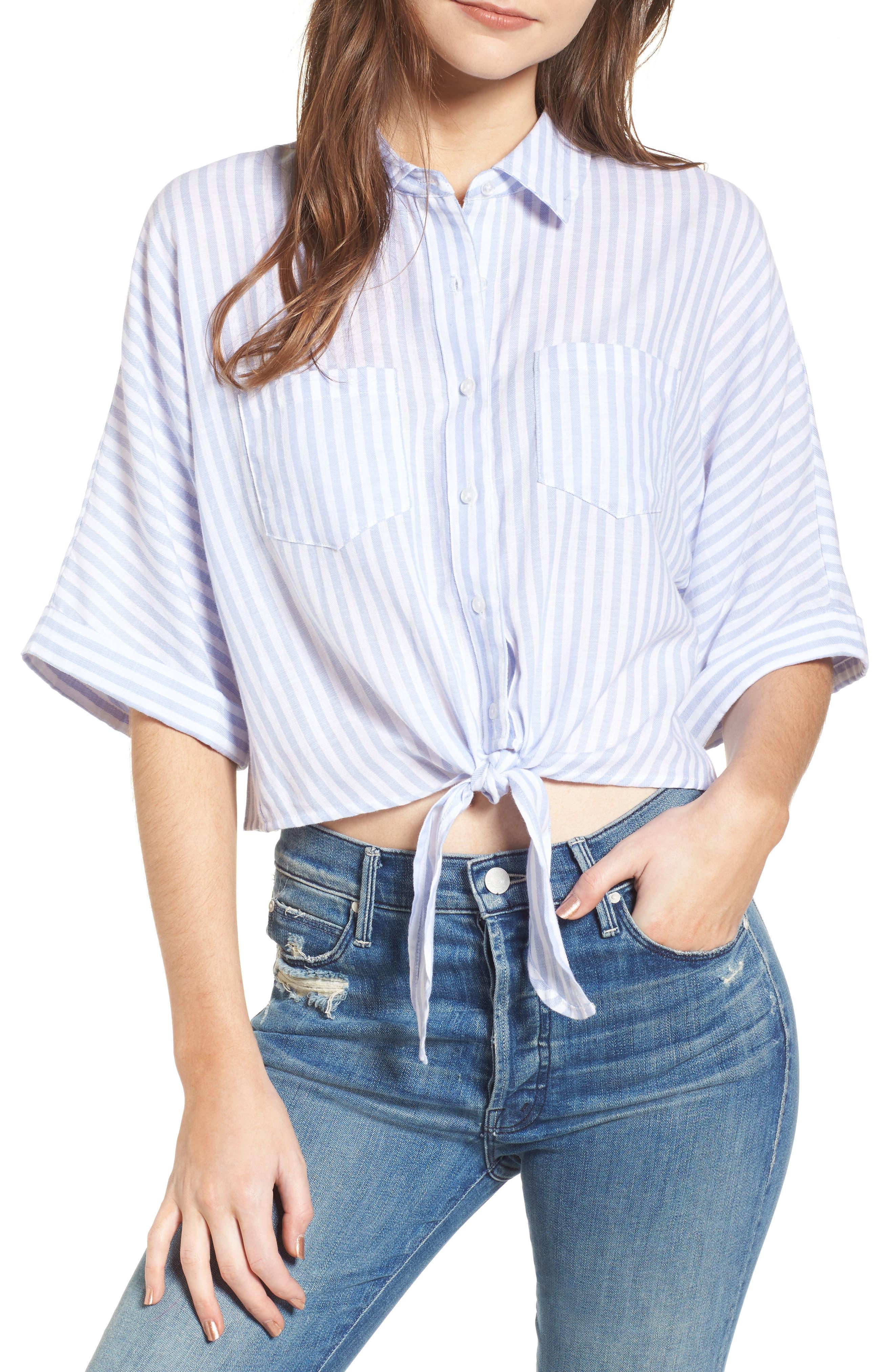 Saundra Tie Waist Crop Shirt,                             Main thumbnail 1, color,                             French Blue