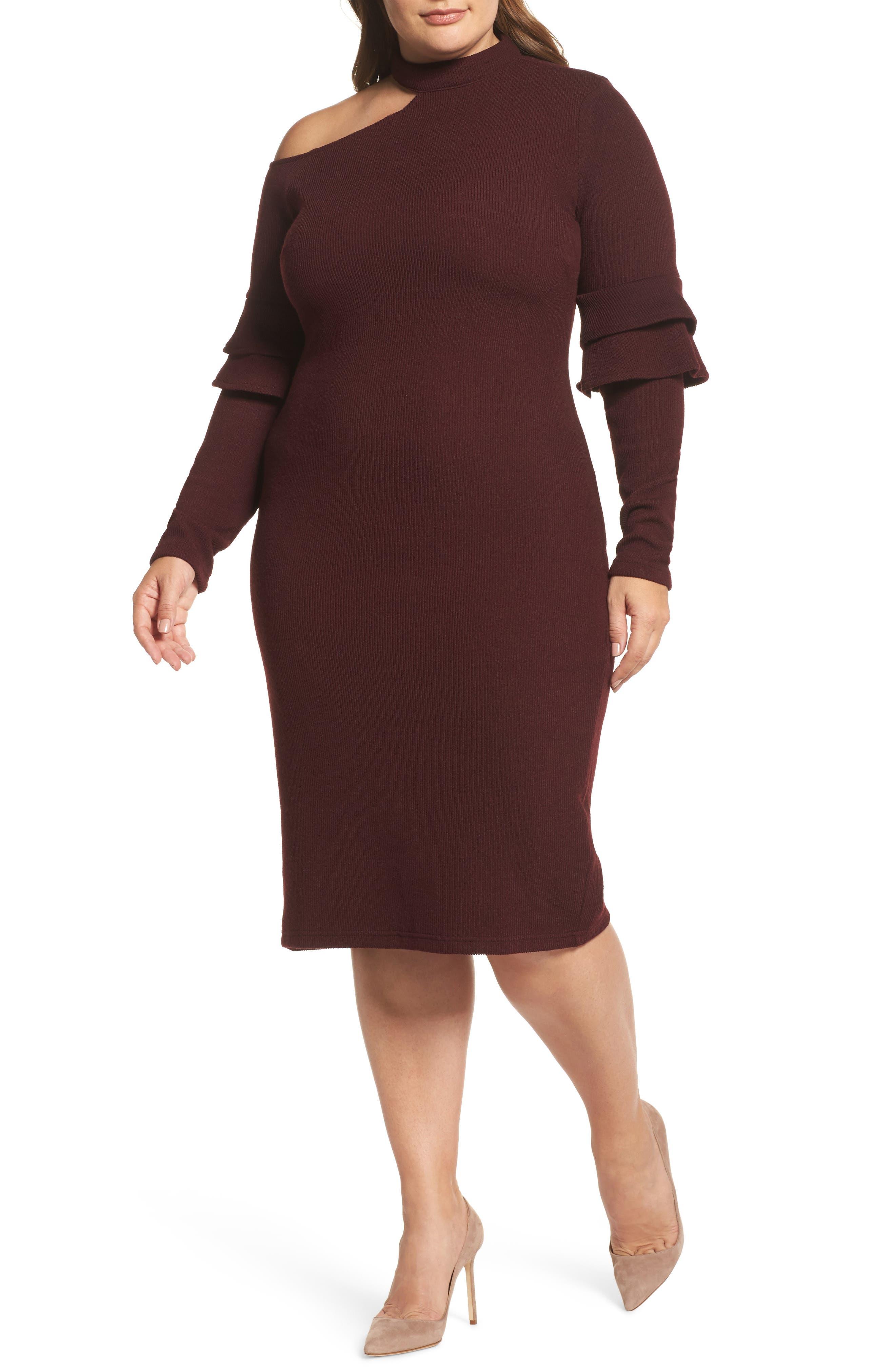 Shoulder Cutout Knit Dress,                         Main,                         color, Oxblood