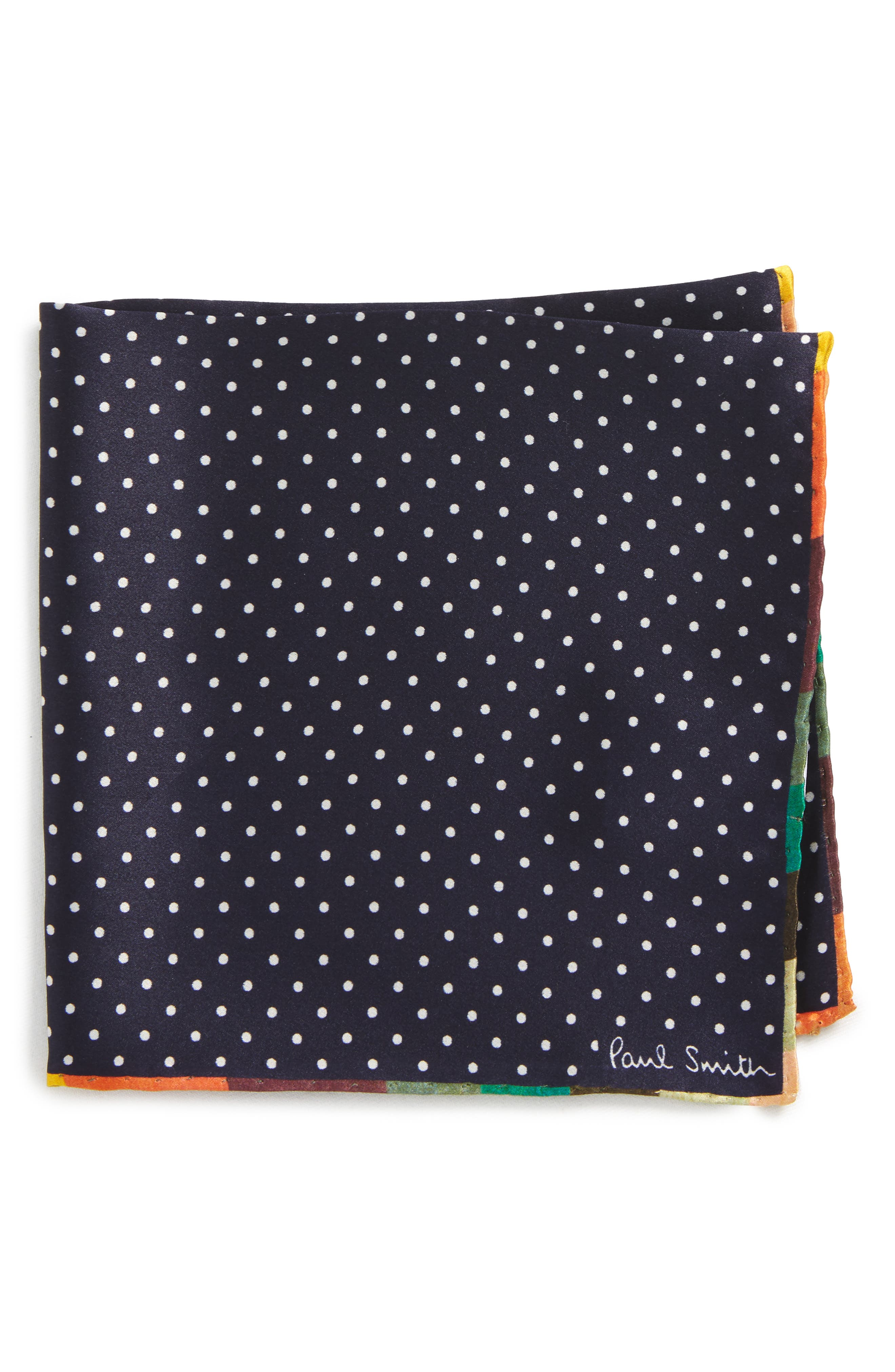 Paul Smith Artist Edge Pin Dot Silk Pocket Square
