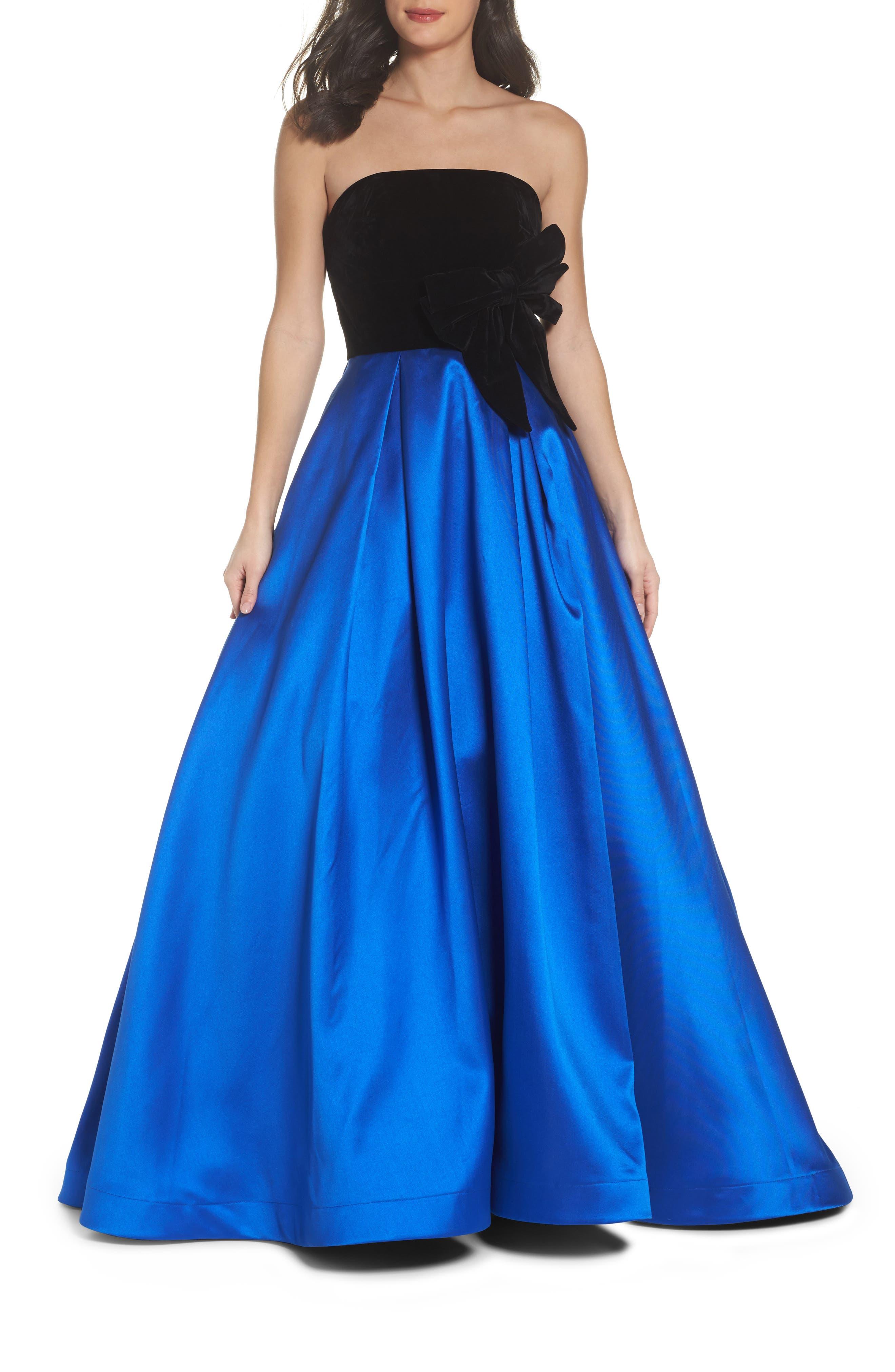 Velvet Bodice Ballgown,                         Main,                         color, Black/Royal