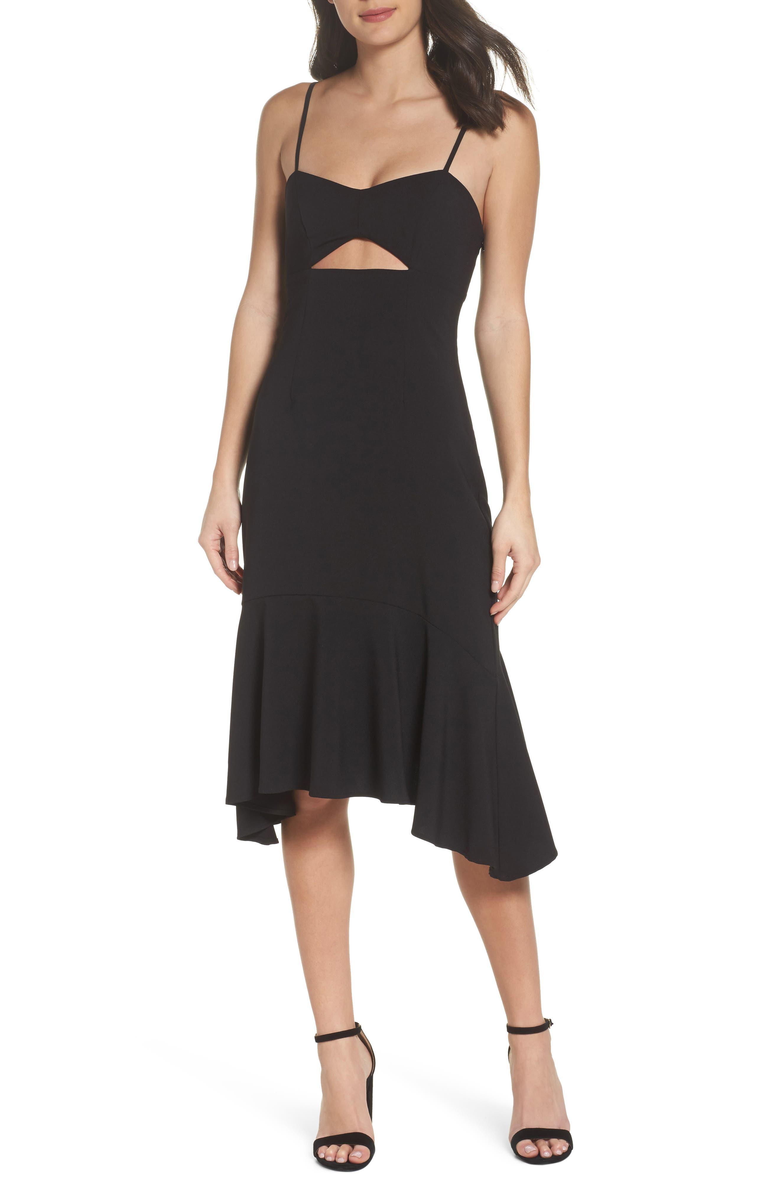 Cutout Midi Dress,                             Main thumbnail 1, color,                             Black
