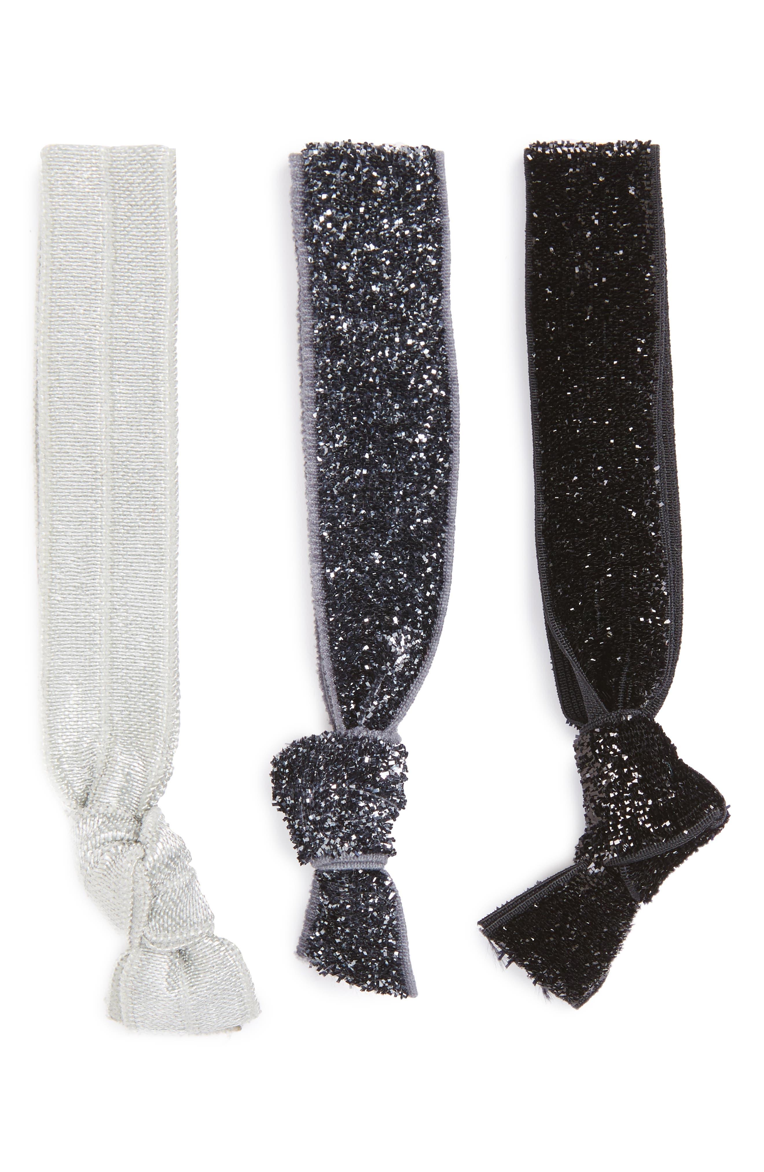 Topshop Glitter Yoga Set of 3 Hair Bands