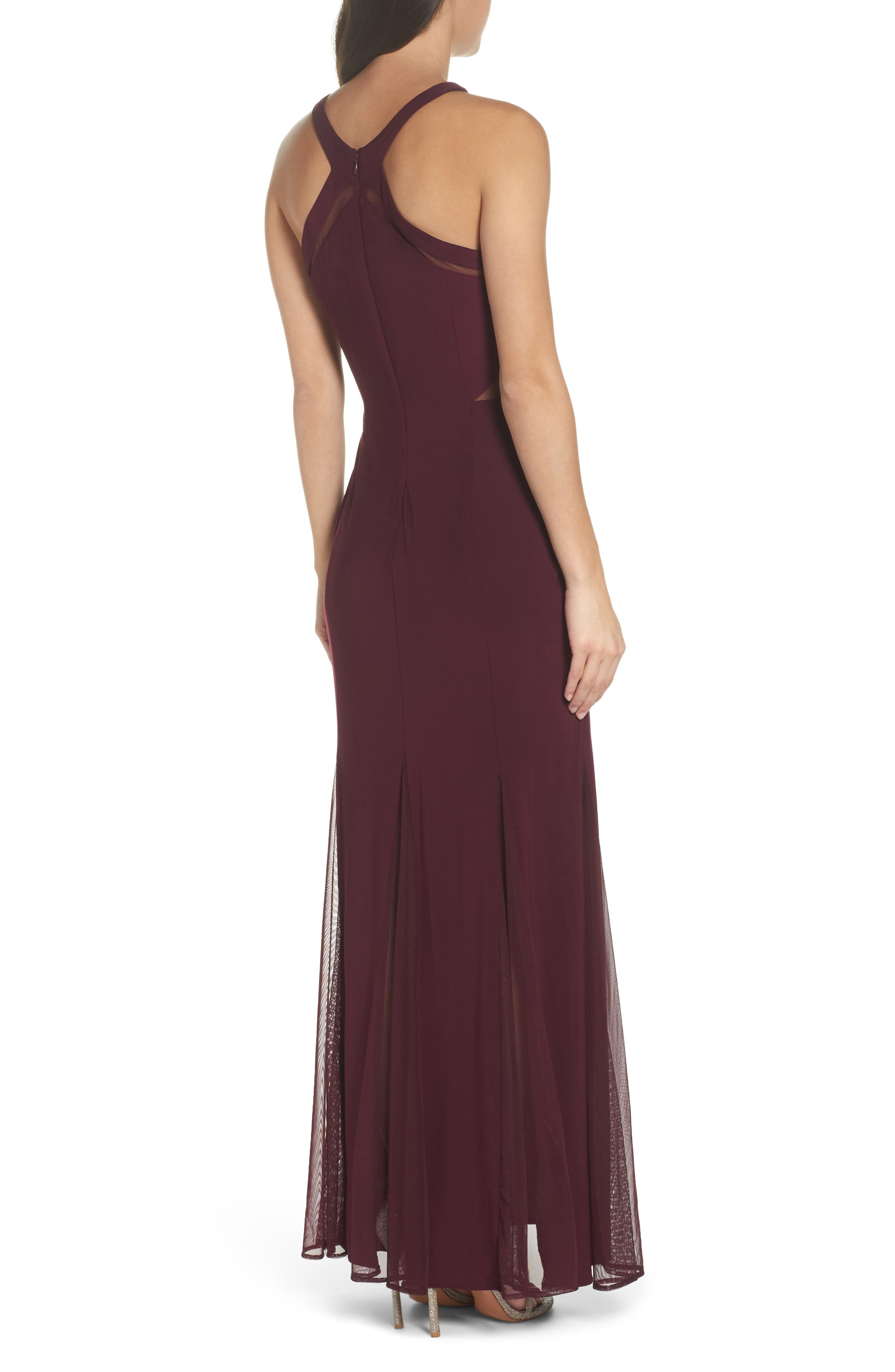 Mesh Inset Knit Mermaid Gown,                             Alternate thumbnail 2, color,                             Wine