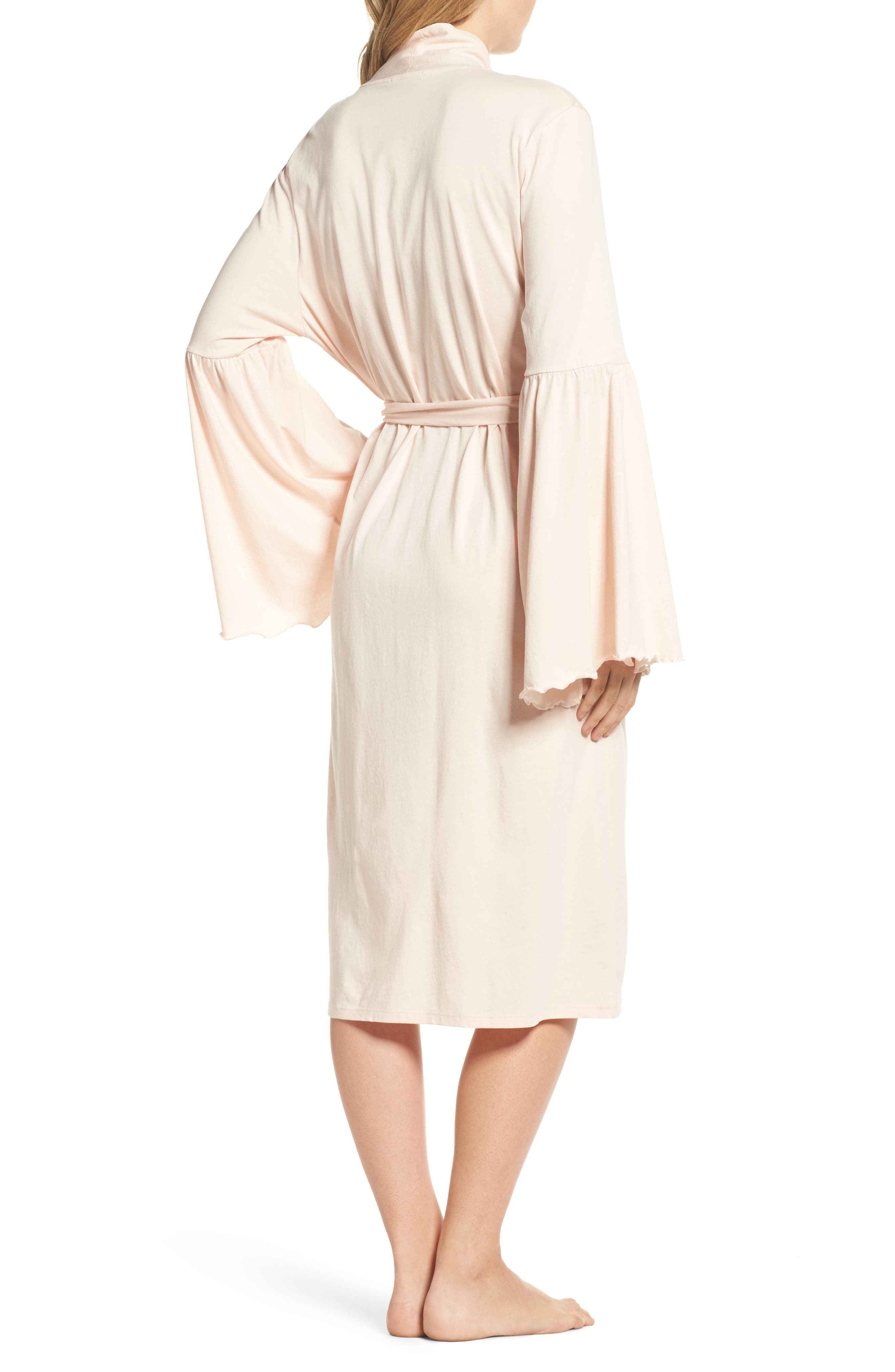 Pima Cotton Robe,                             Alternate thumbnail 2, color,                             Powder Pink