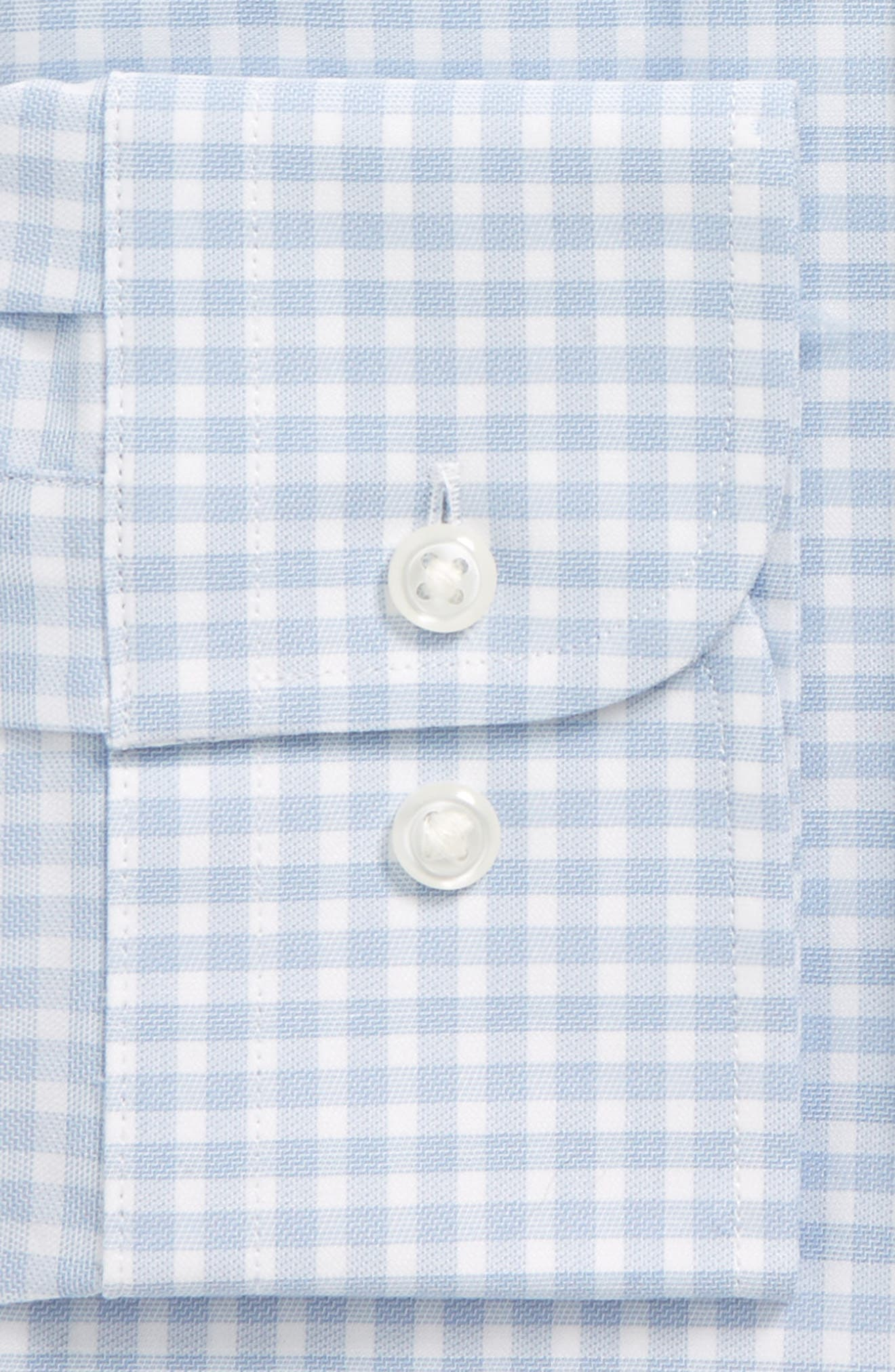 Tech-Smart Trim Fit Stretch Check Dress Shirt,                             Alternate thumbnail 4, color,                             Blue Brunerra