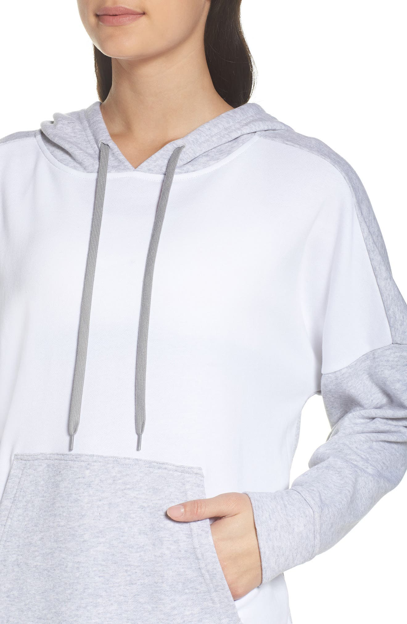 French Terry Tunic Hoodie,                             Alternate thumbnail 4, color,                             Light Grey Heather