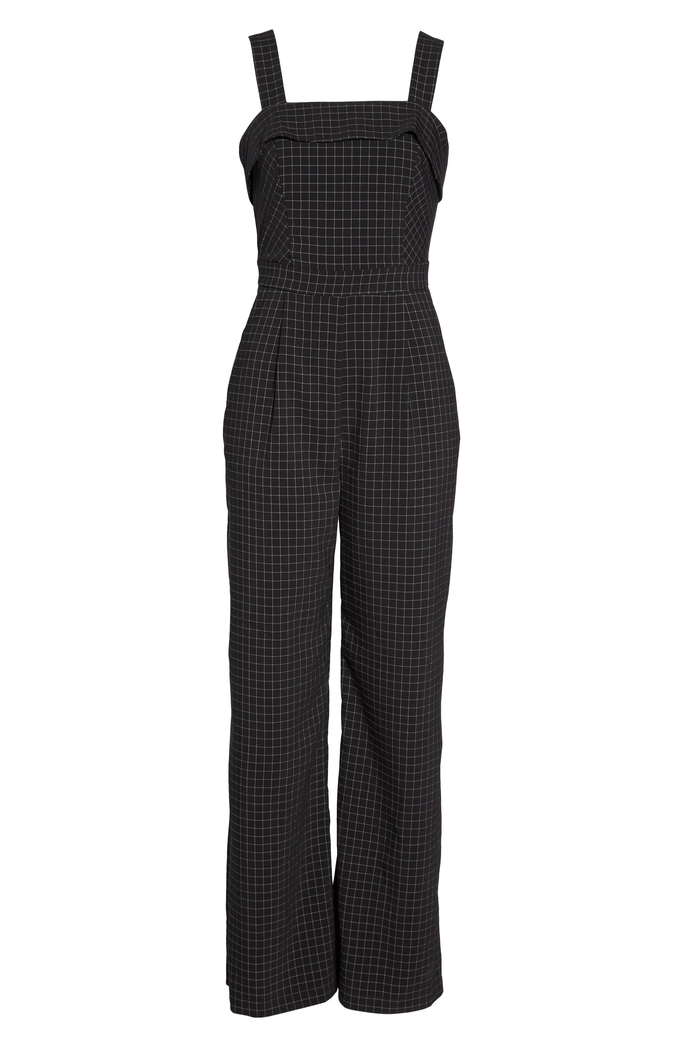 Lilah Plaid Jumpsuit,                             Alternate thumbnail 6, color,                             Black