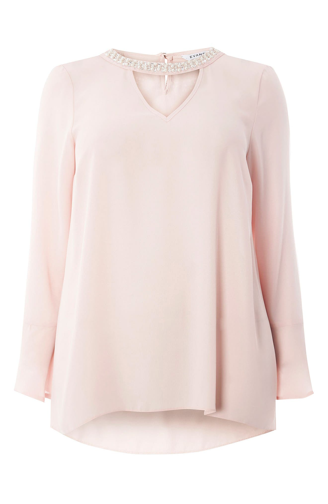 Alternate Image 5  - Evans Bell Sleeve Pearly Choker Neck Top (Plus Size)