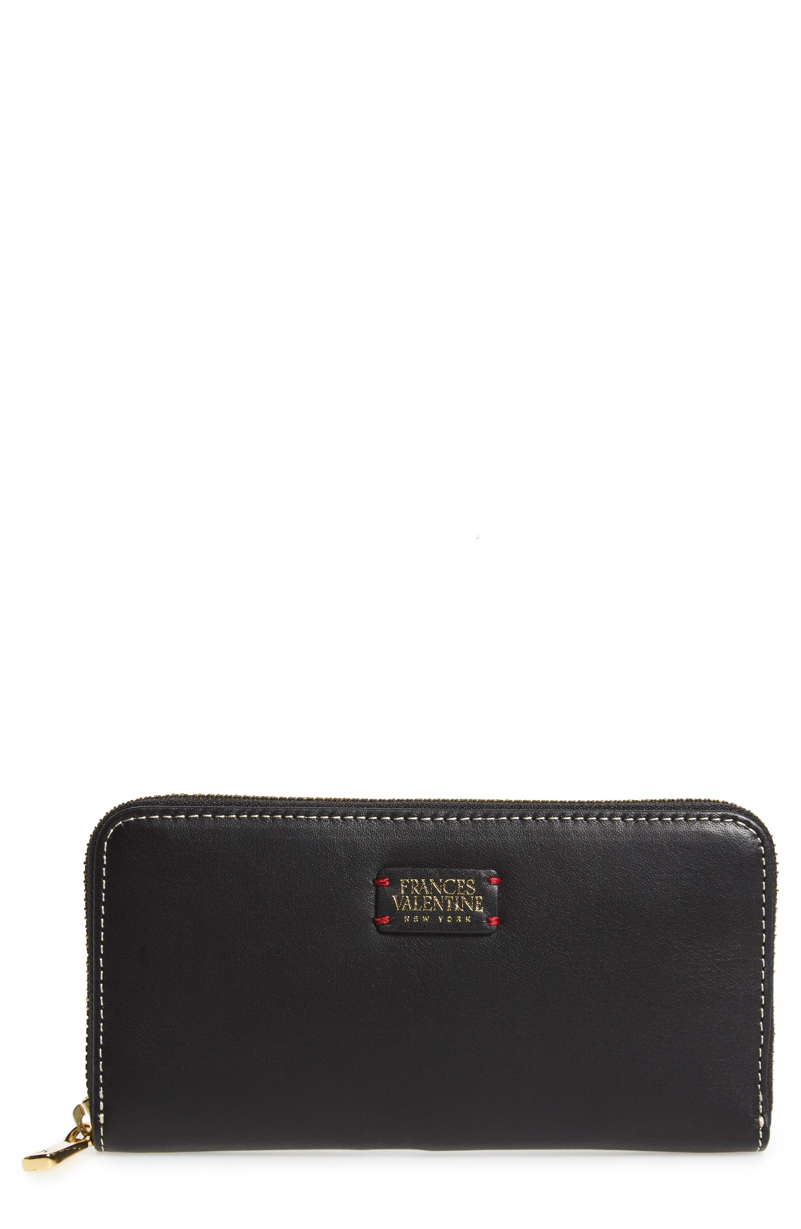 Kennedy Calfskin Leather Zip Around Wallet,                             Main thumbnail 1, color,                             Black