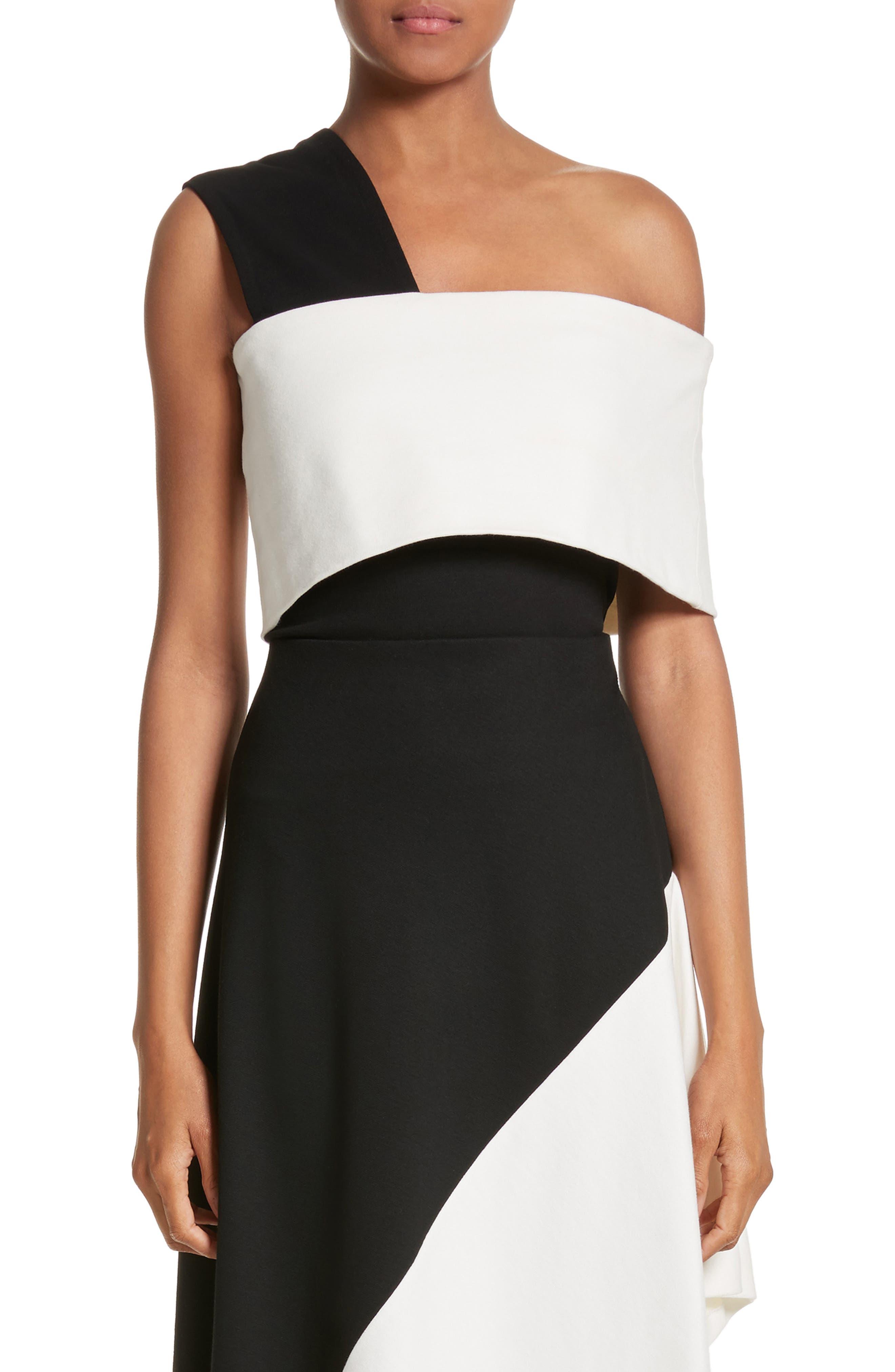 One-Shoulder Jersey Top,                         Main,                         color, Black/ Ivory