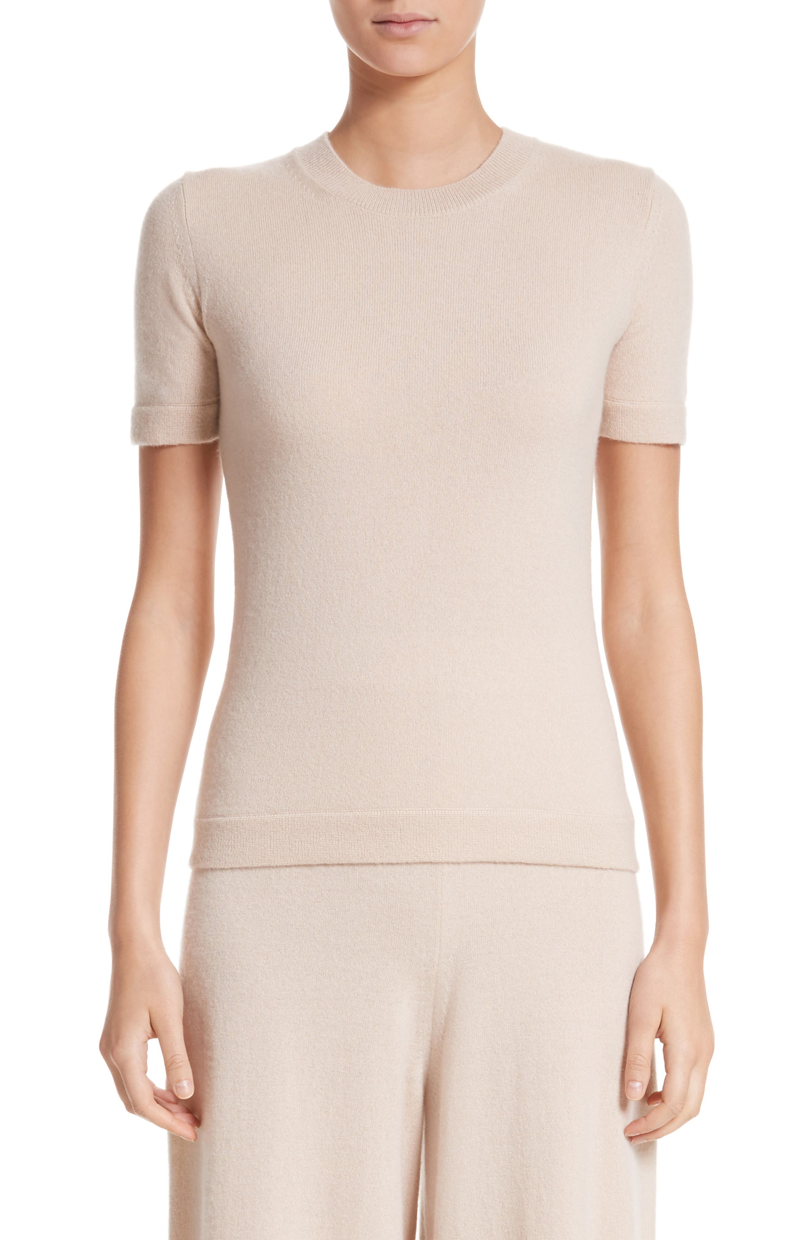 Cashmere Tee,                         Main,                         color, Fawn