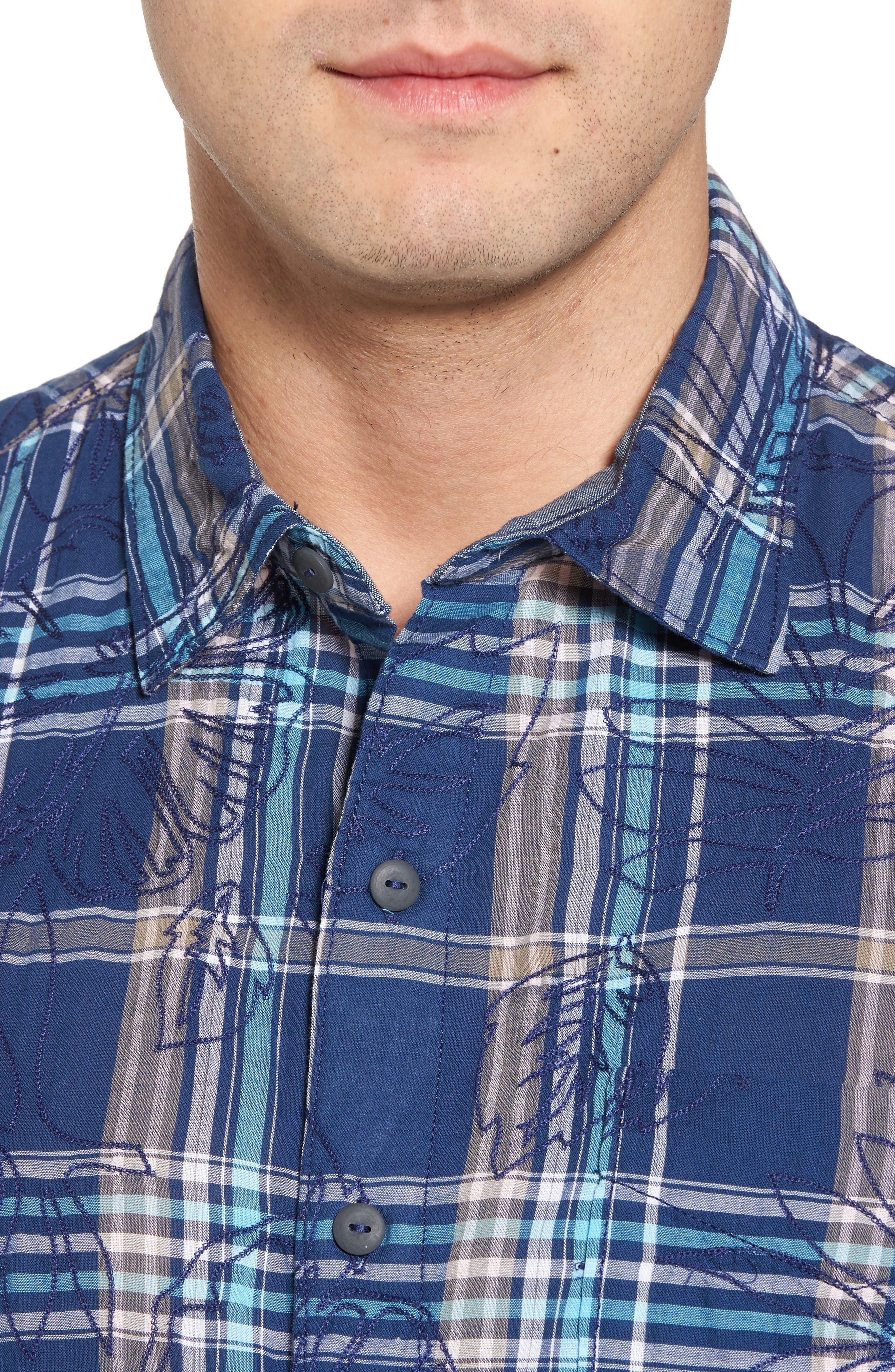 Pallazo Plaid Sport Shirt,                             Alternate thumbnail 4, color,                             Dockside Blue
