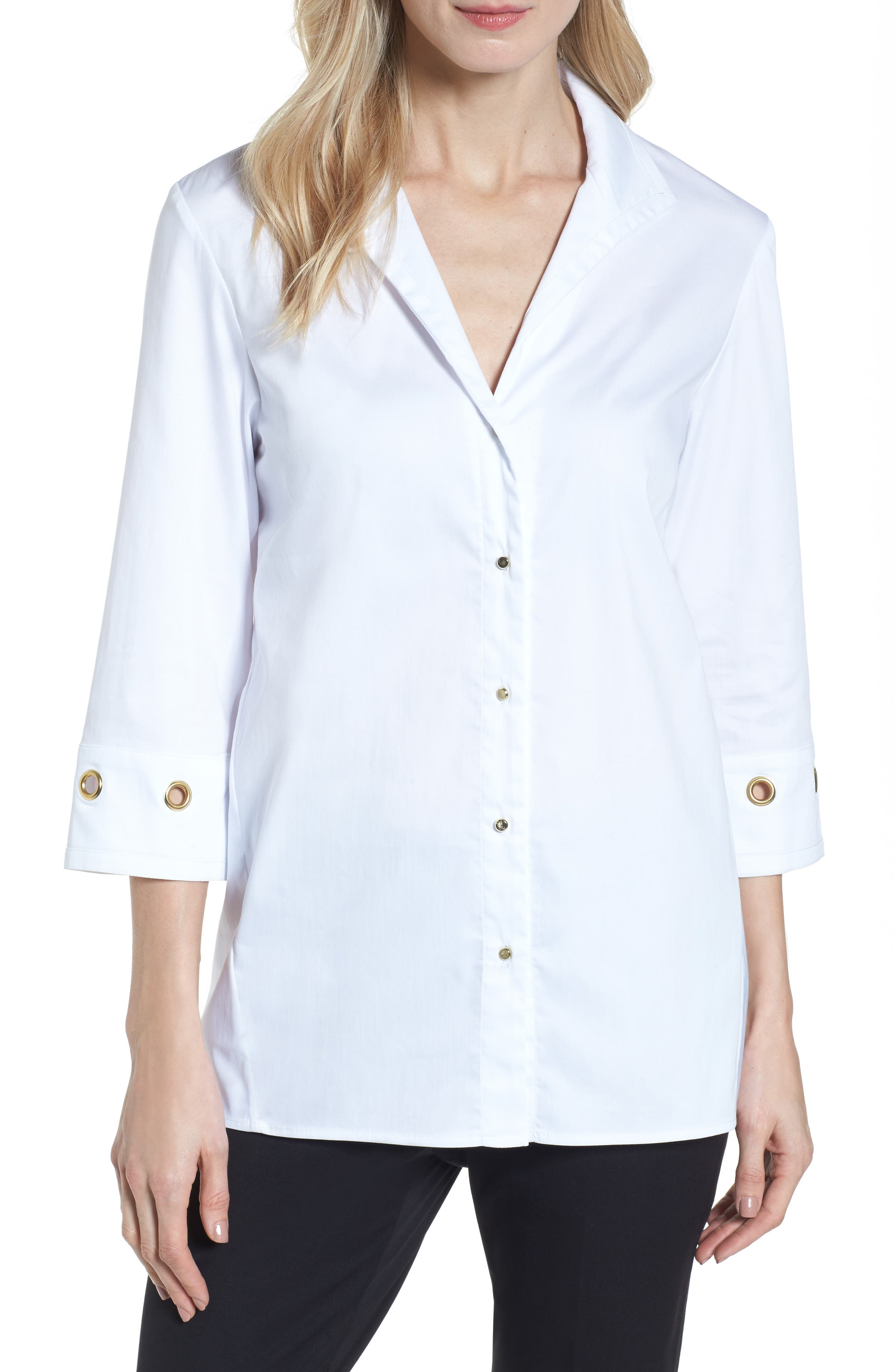 Alternate Image 1 Selected - Ming Wang Grommet Sleeve Shirt