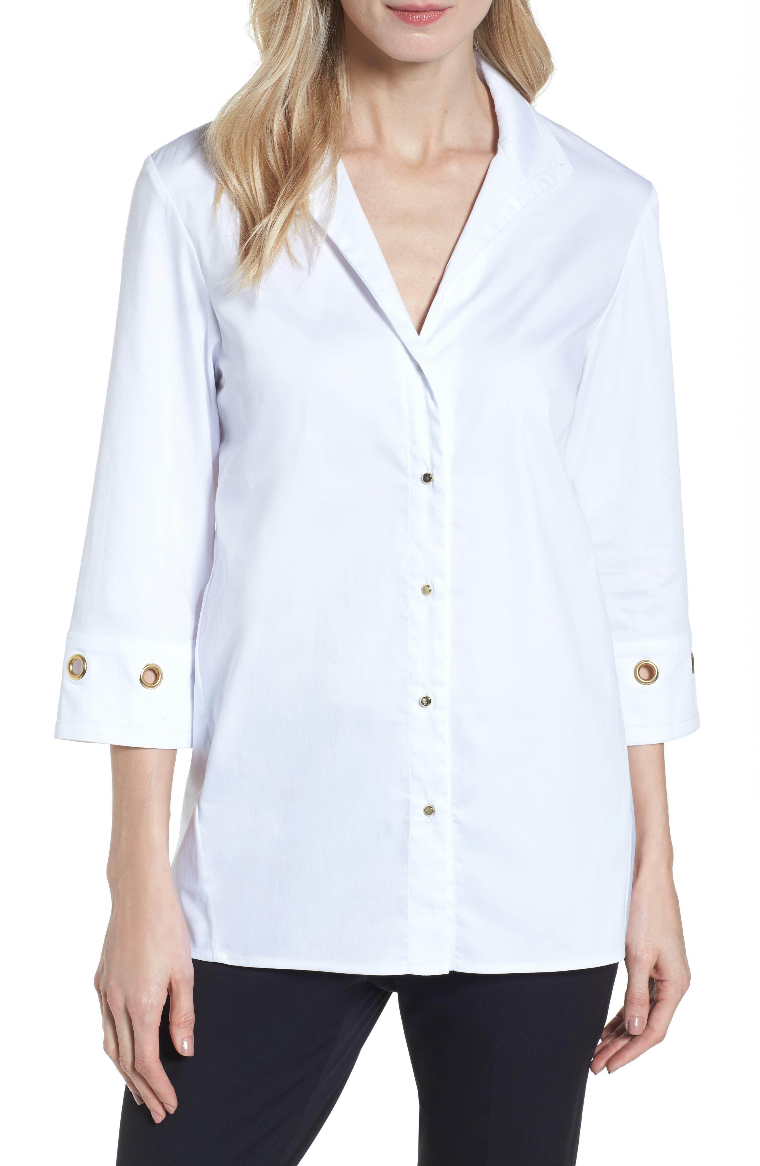 Grommet Sleeve Shirt,                         Main,                         color, White