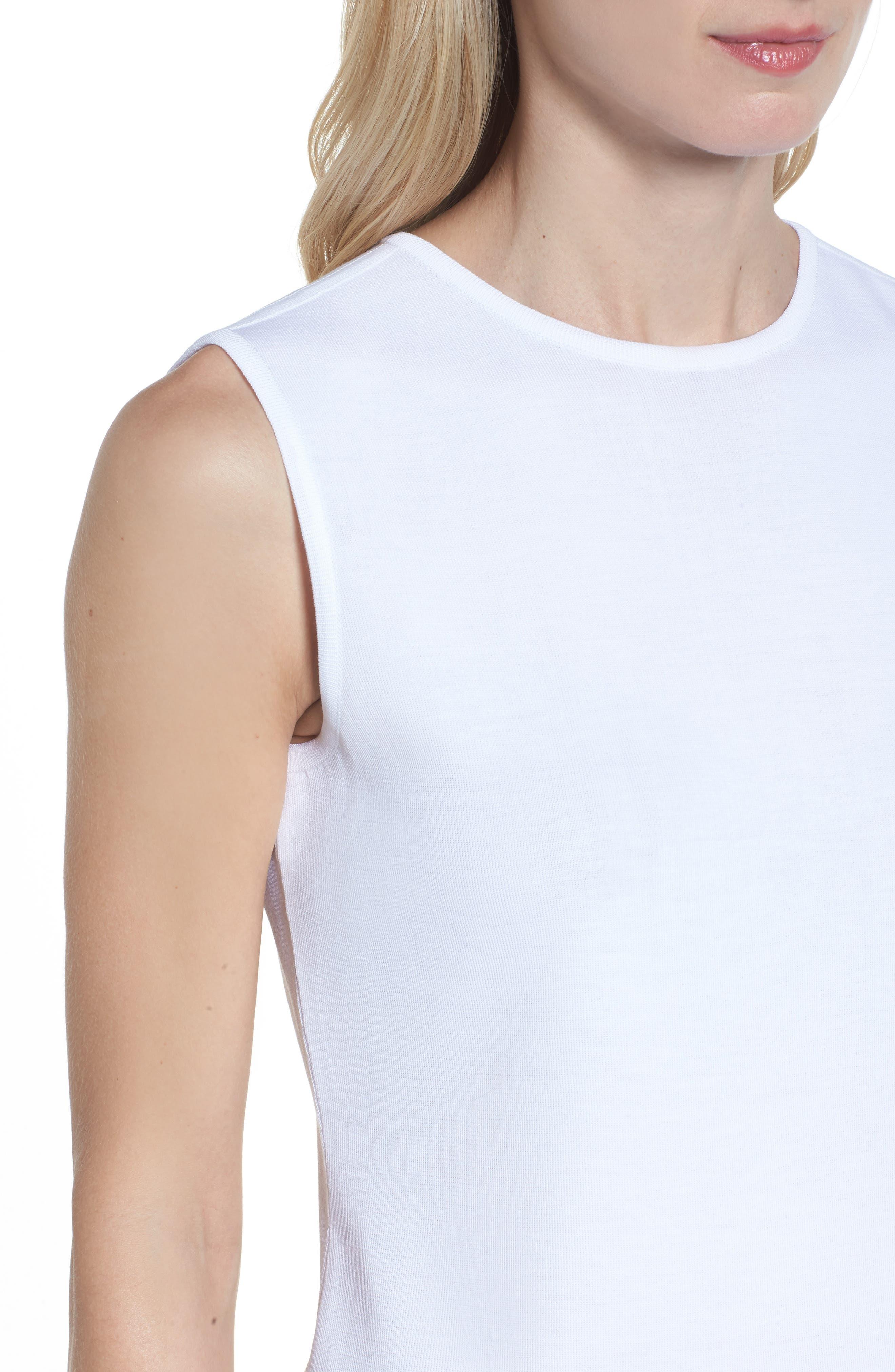 Jewel Neck Knit Tank,                             Alternate thumbnail 4, color,                             White