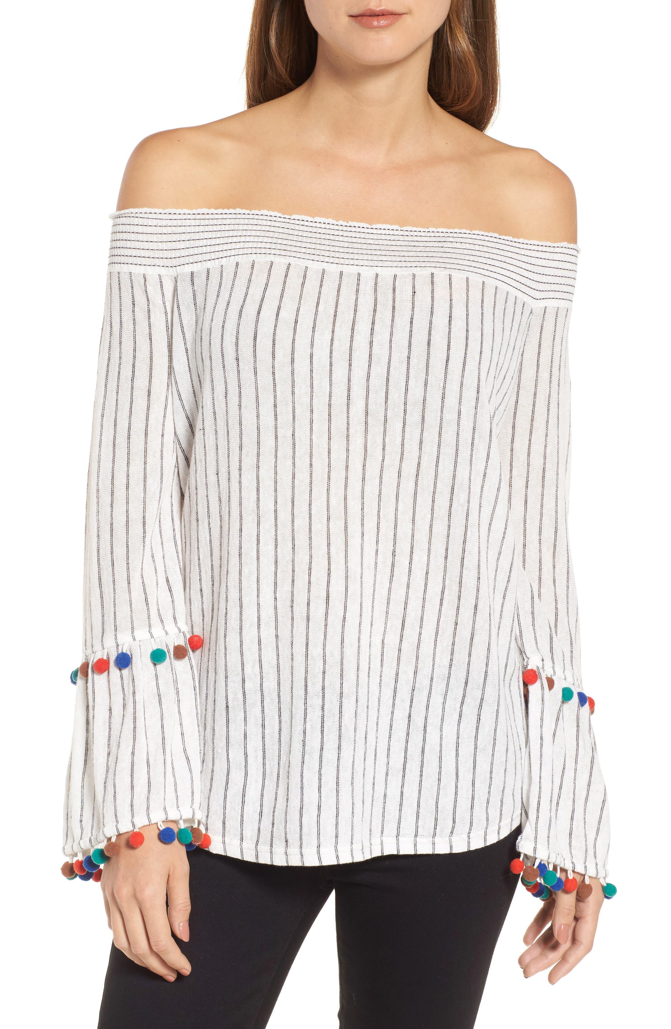 Pompom Cuff Top,                         Main,                         color, Multi