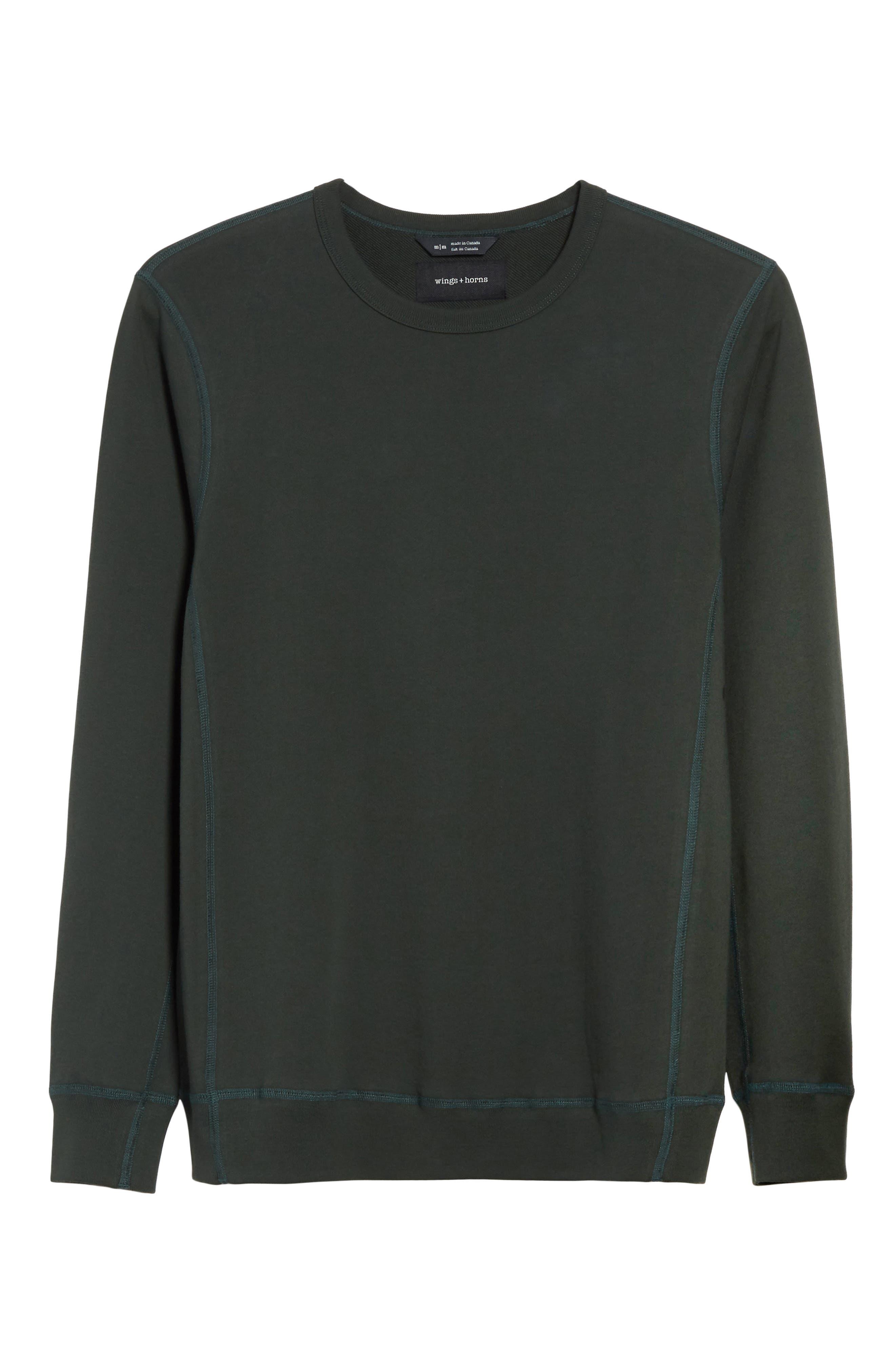 Crewneck Sweatshirt,                             Alternate thumbnail 6, color,                             Jungle Green