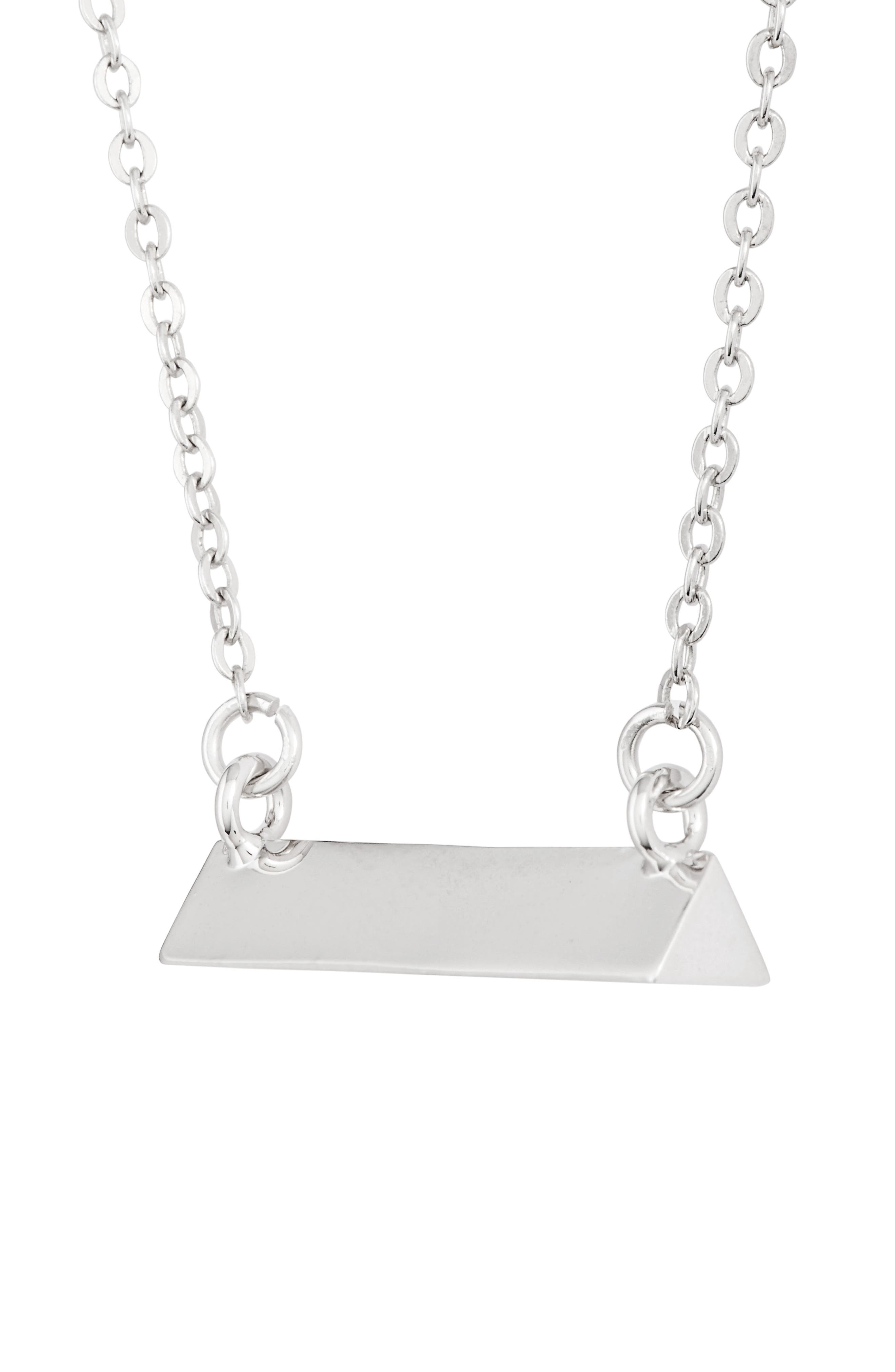 Triangle Shaped Bar Pendant Necklace,                             Alternate thumbnail 3, color,                             Silver