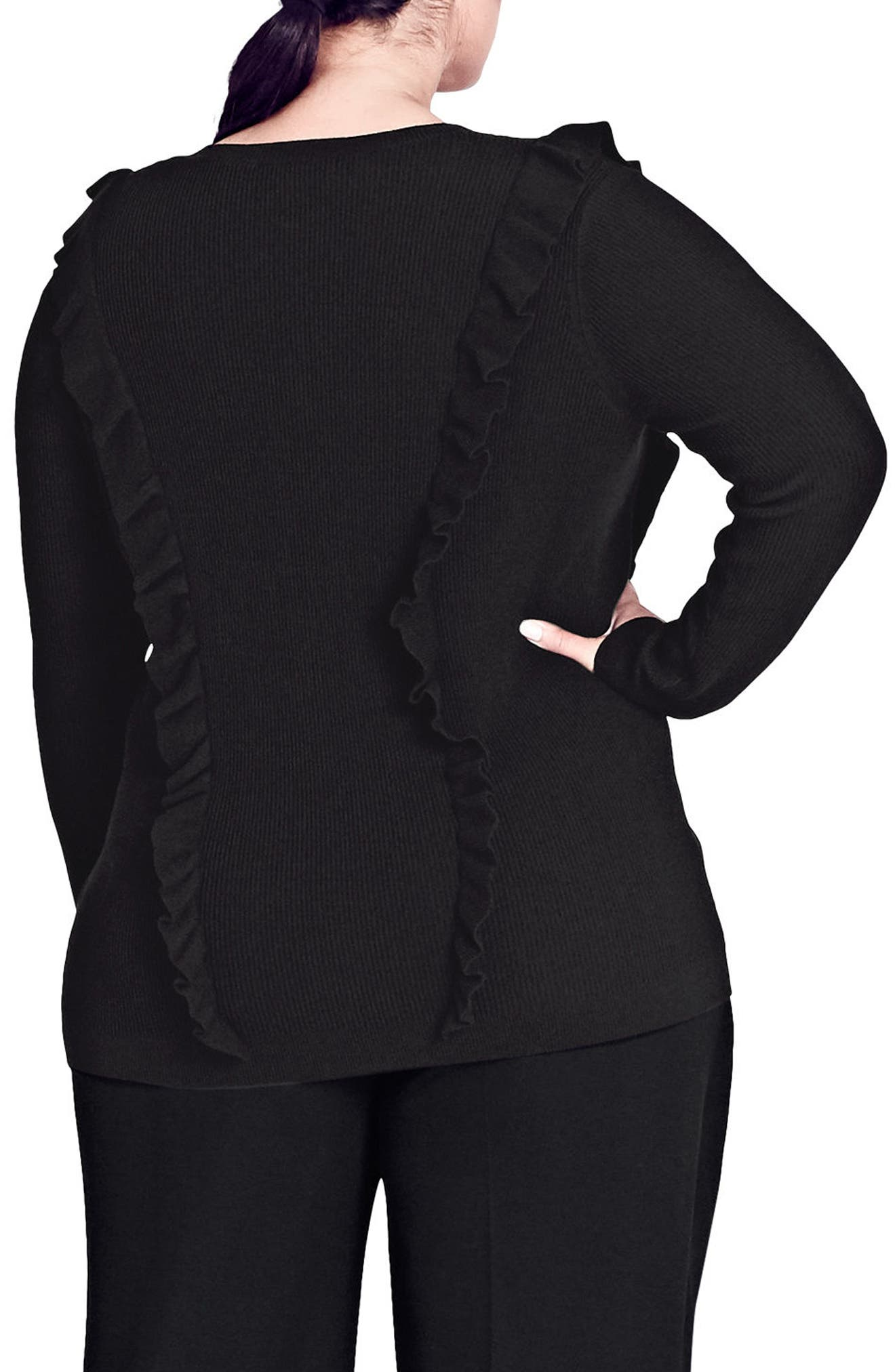 Romantic Ruffle Trim Sweater,                             Alternate thumbnail 2, color,                             Black