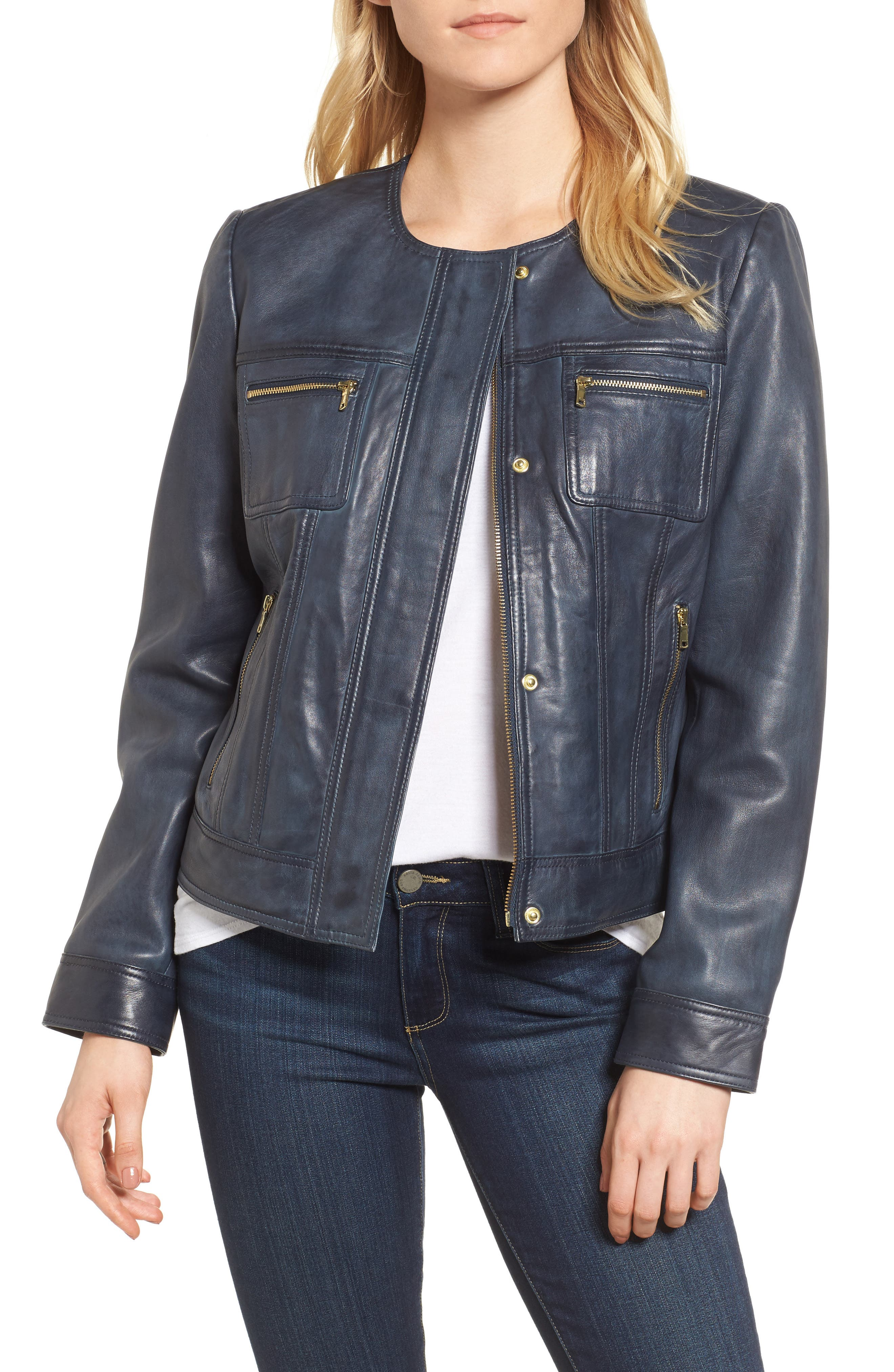 Collarless Leather Trucker Jacket,                         Main,                         color, Navy