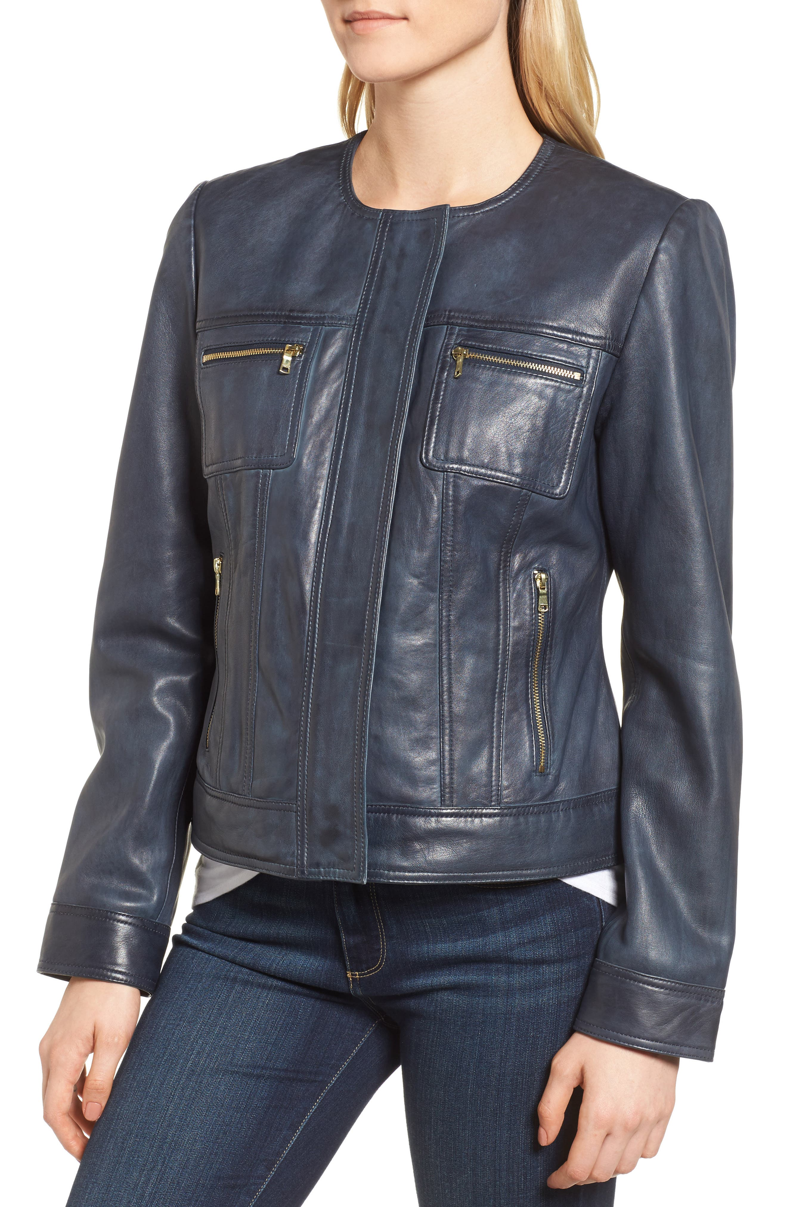Alternate Image 4  - Cole Haan Signature Collarless Leather Trucker Jacket
