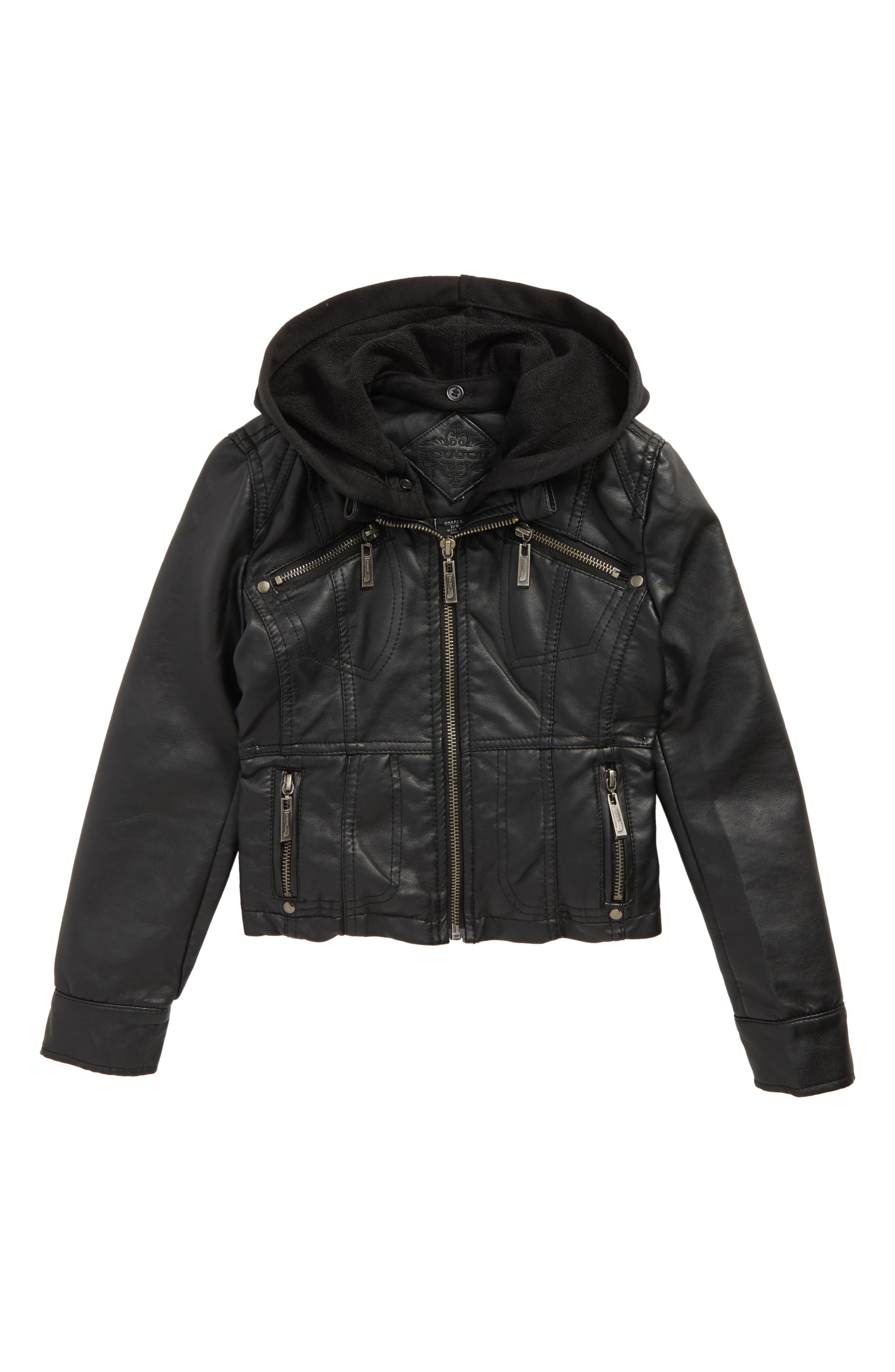 Main Image - Jou Jou Faux Leather Moto Jacket (Big Girls)