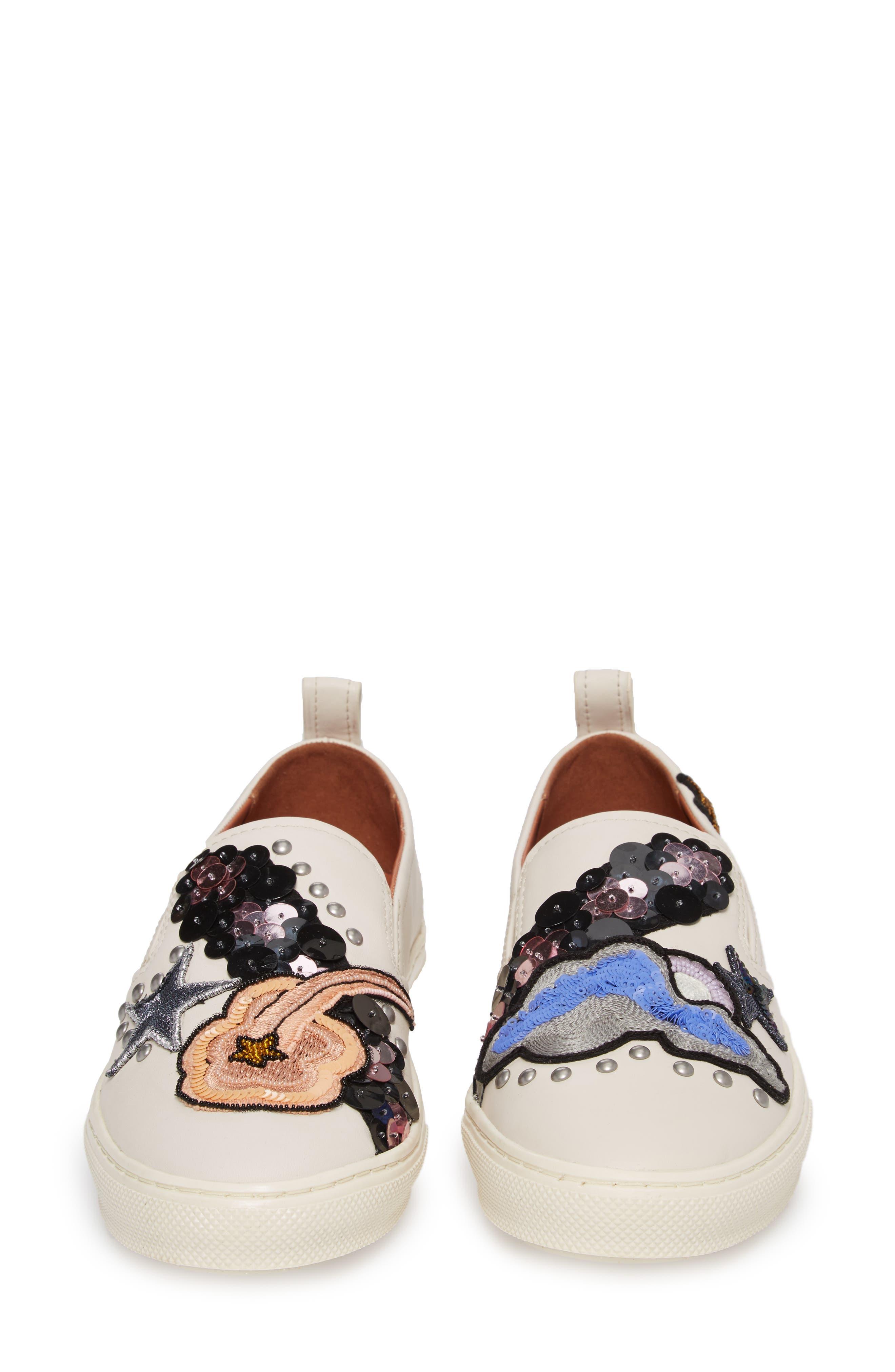 Star Patch Slip-On Sneaker,                             Alternate thumbnail 5, color,                             Chalk Leather