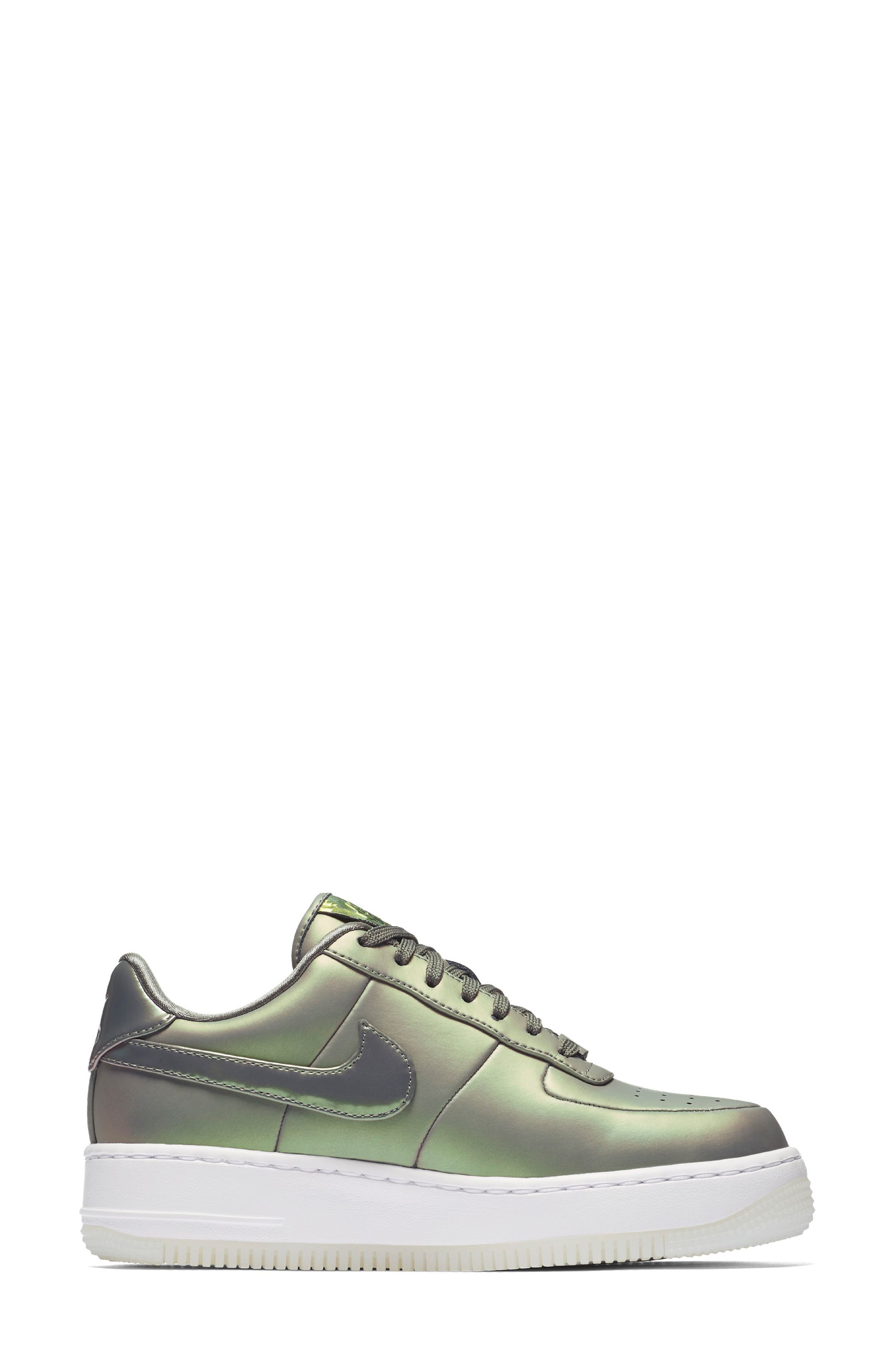 Air Force 1 Upstep Premium LX Shoe,                             Alternate thumbnail 5, color,                             Dark Stucco/ Stucco/ White
