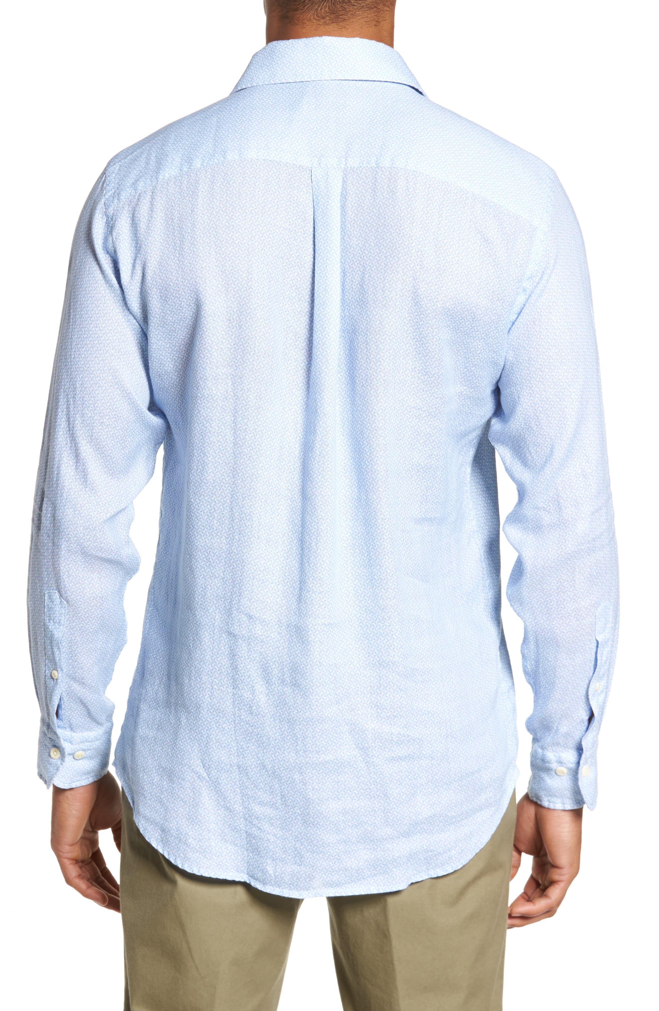 Whirlwind Regular Fit Linen Sport Shirt,                             Alternate thumbnail 2, color,                             Tar Heel Blue