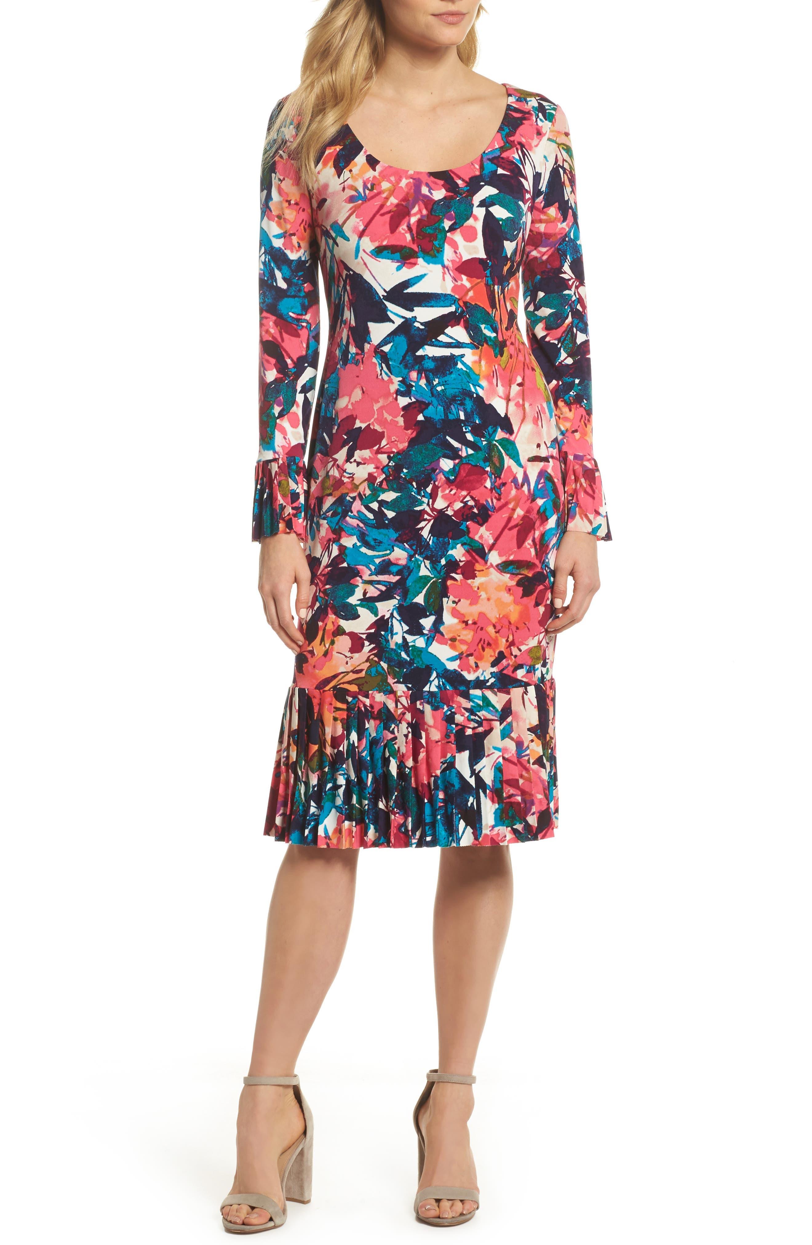 Midi Sheath Dress,                         Main,                         color, White/ Dahlia