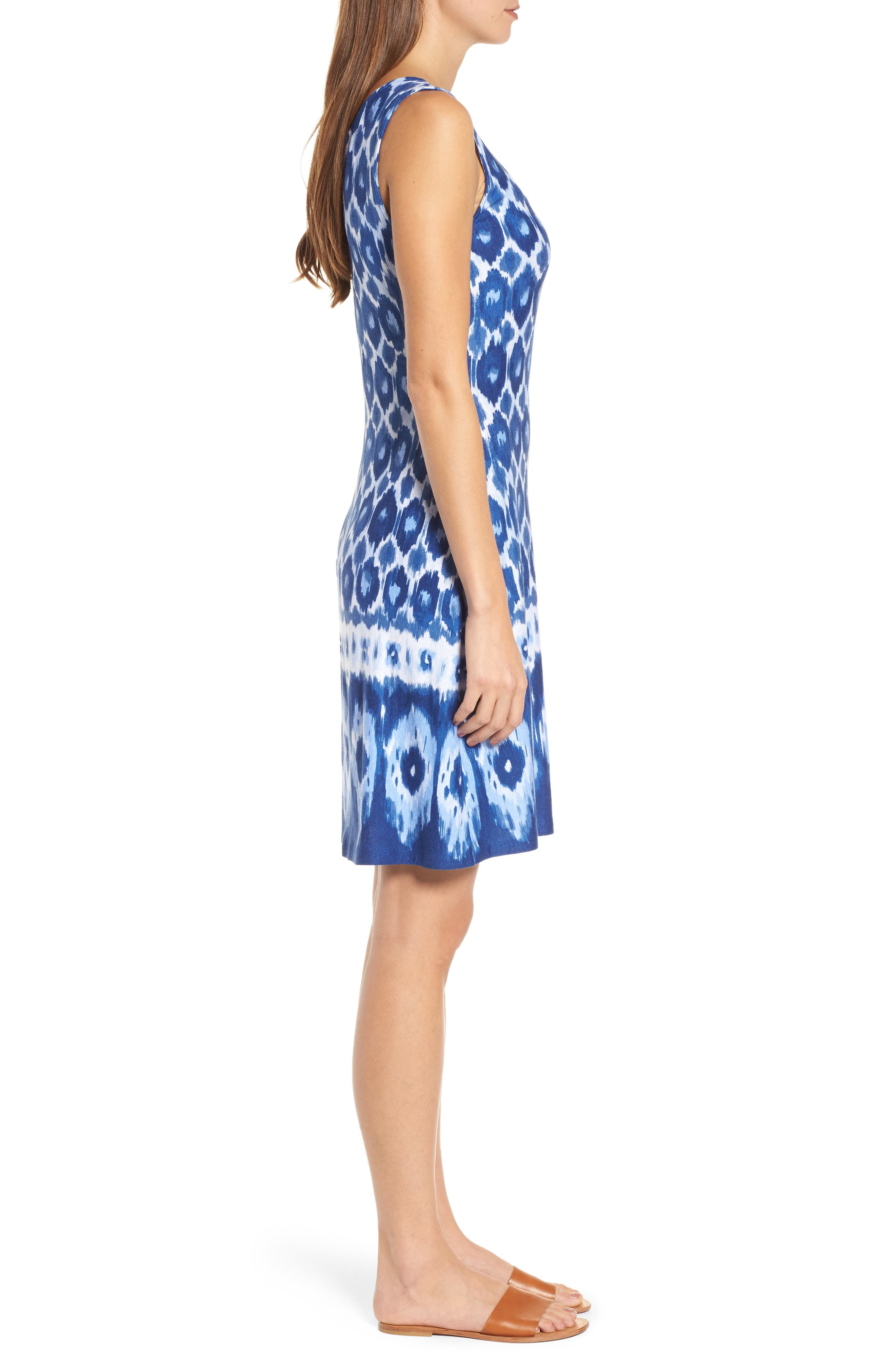 Innercoastal Ikat Sleeveless Dress,                             Alternate thumbnail 3, color,                             Kingdom Blue