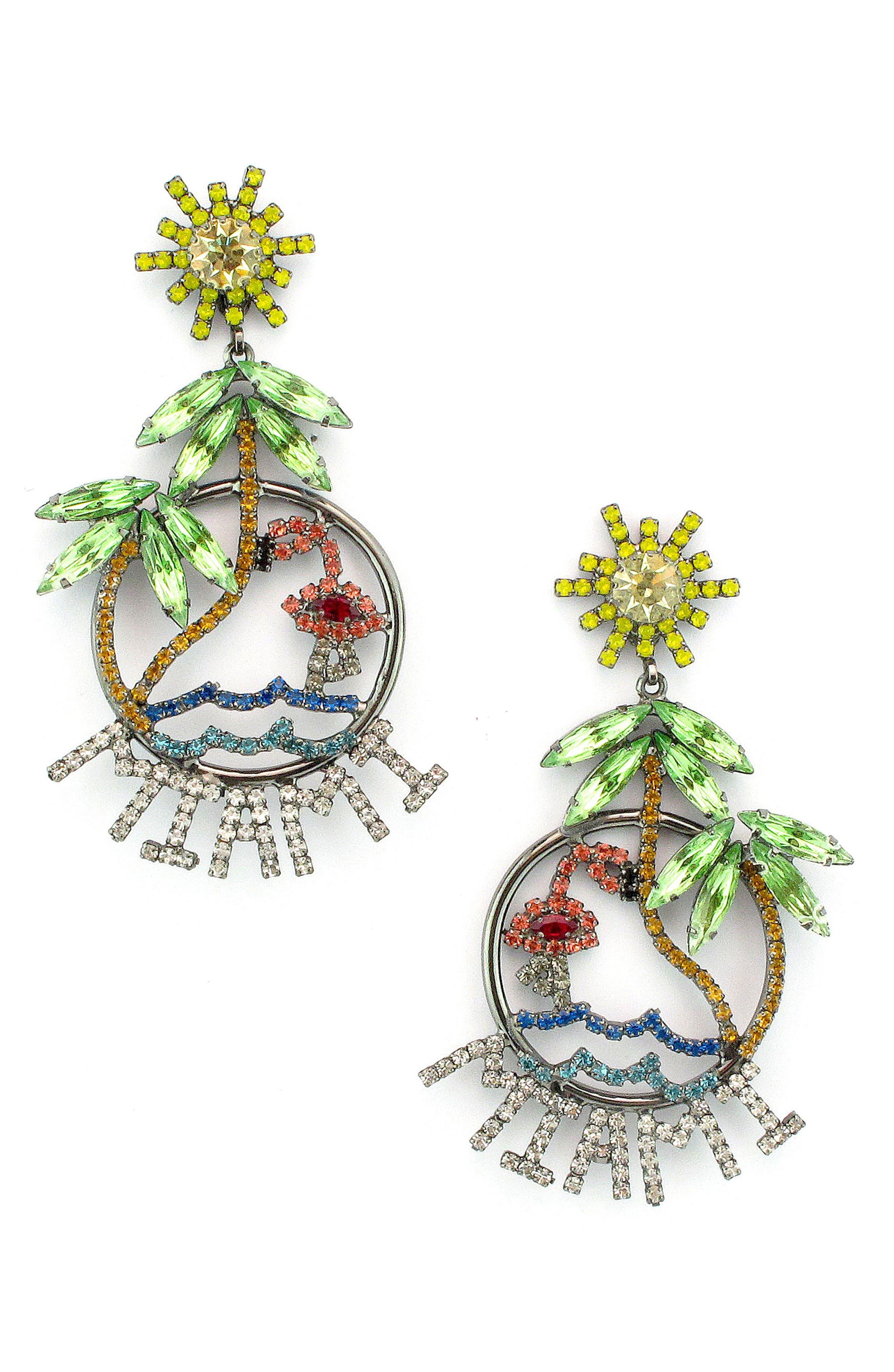 Miami Crystal Drop Earrings,                         Main,                         color, Yellow Multi