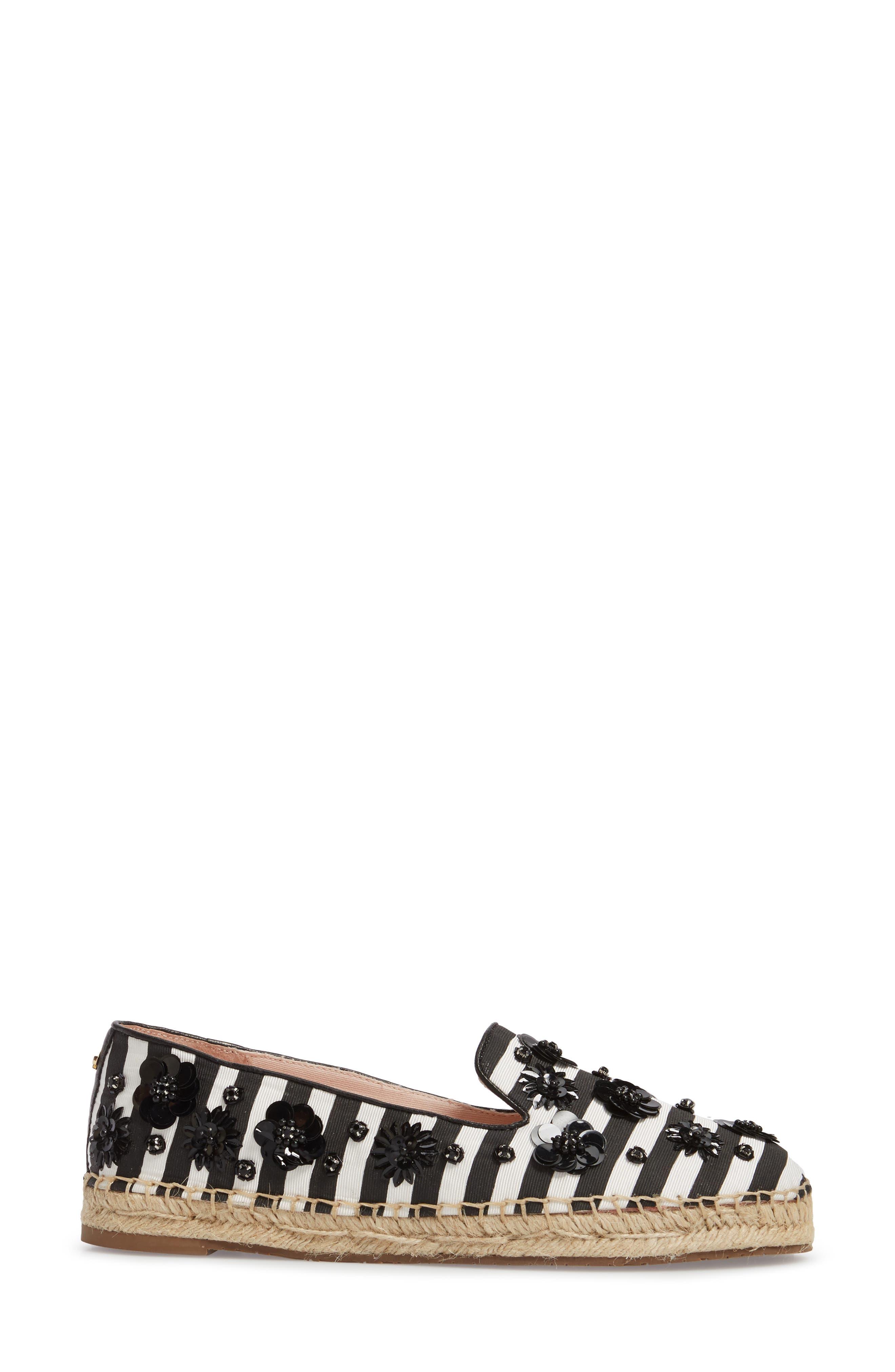 leigh embellished espadrille flat,                             Alternate thumbnail 3, color,                             Black/ White Striped