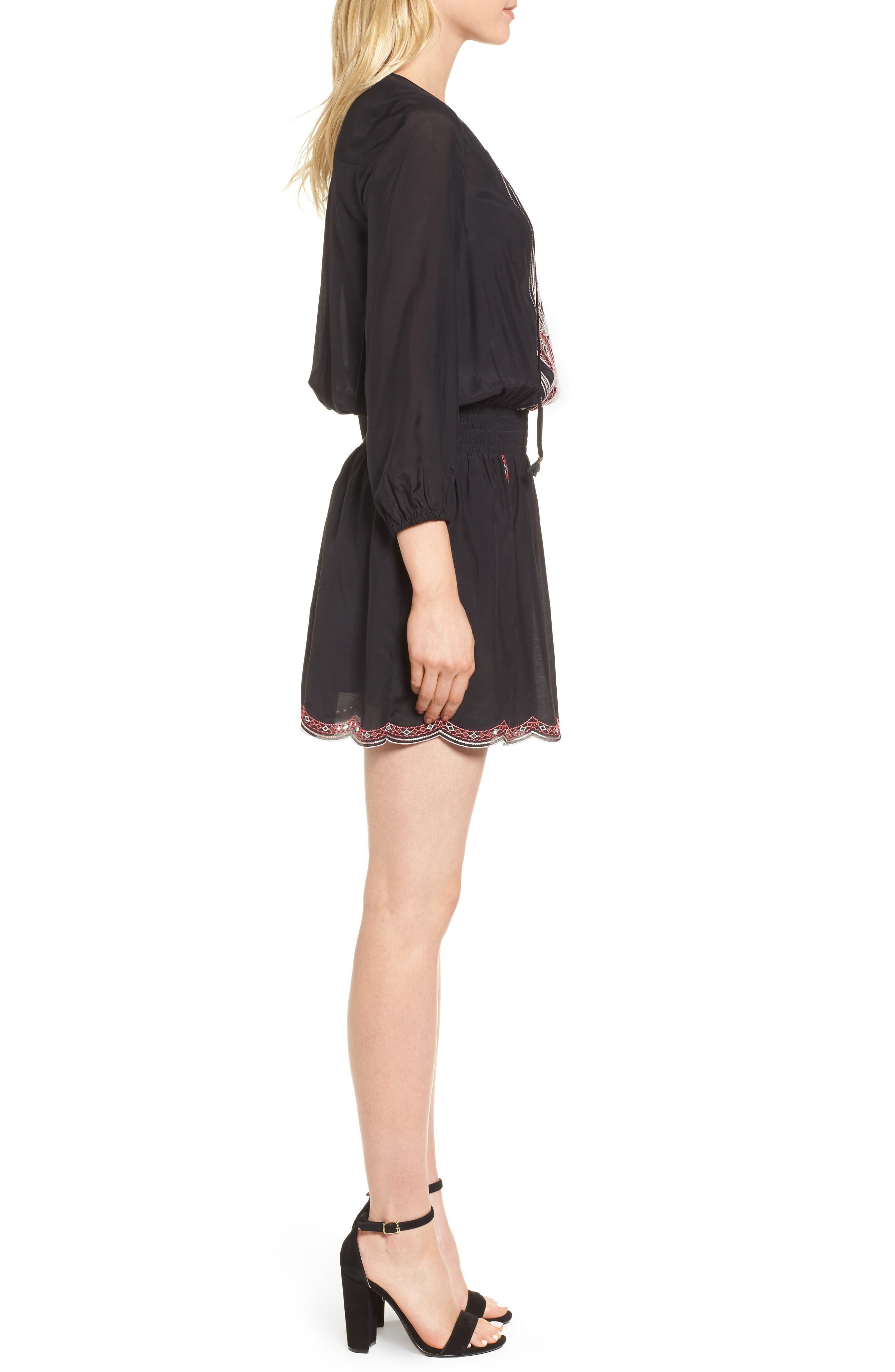 Embroidered Blouson Minidress,                             Alternate thumbnail 3, color,                             Black