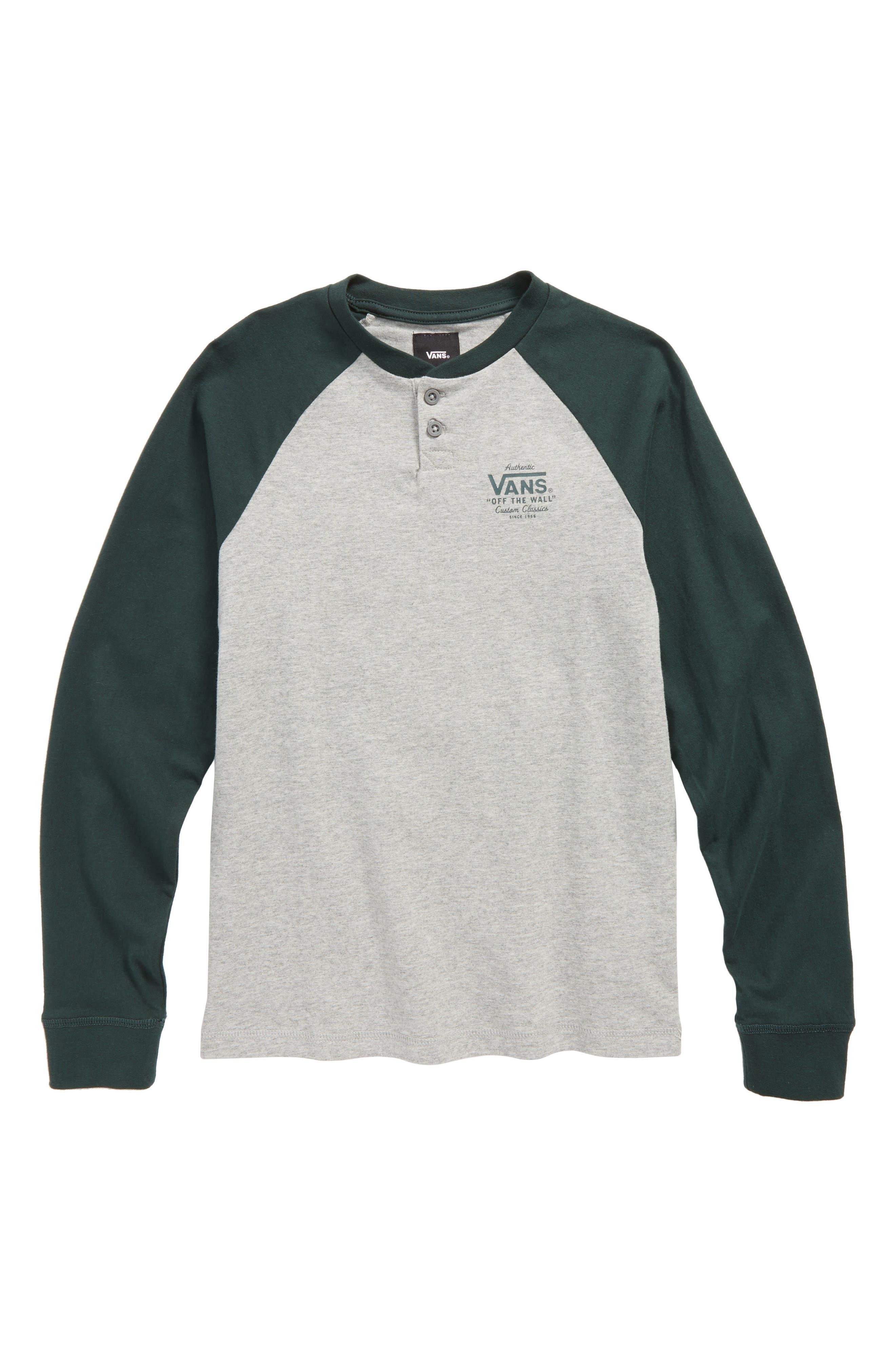 Denton Henley T-Shirt,                             Main thumbnail 1, color,                             Cement Heather/ Vans Scarab