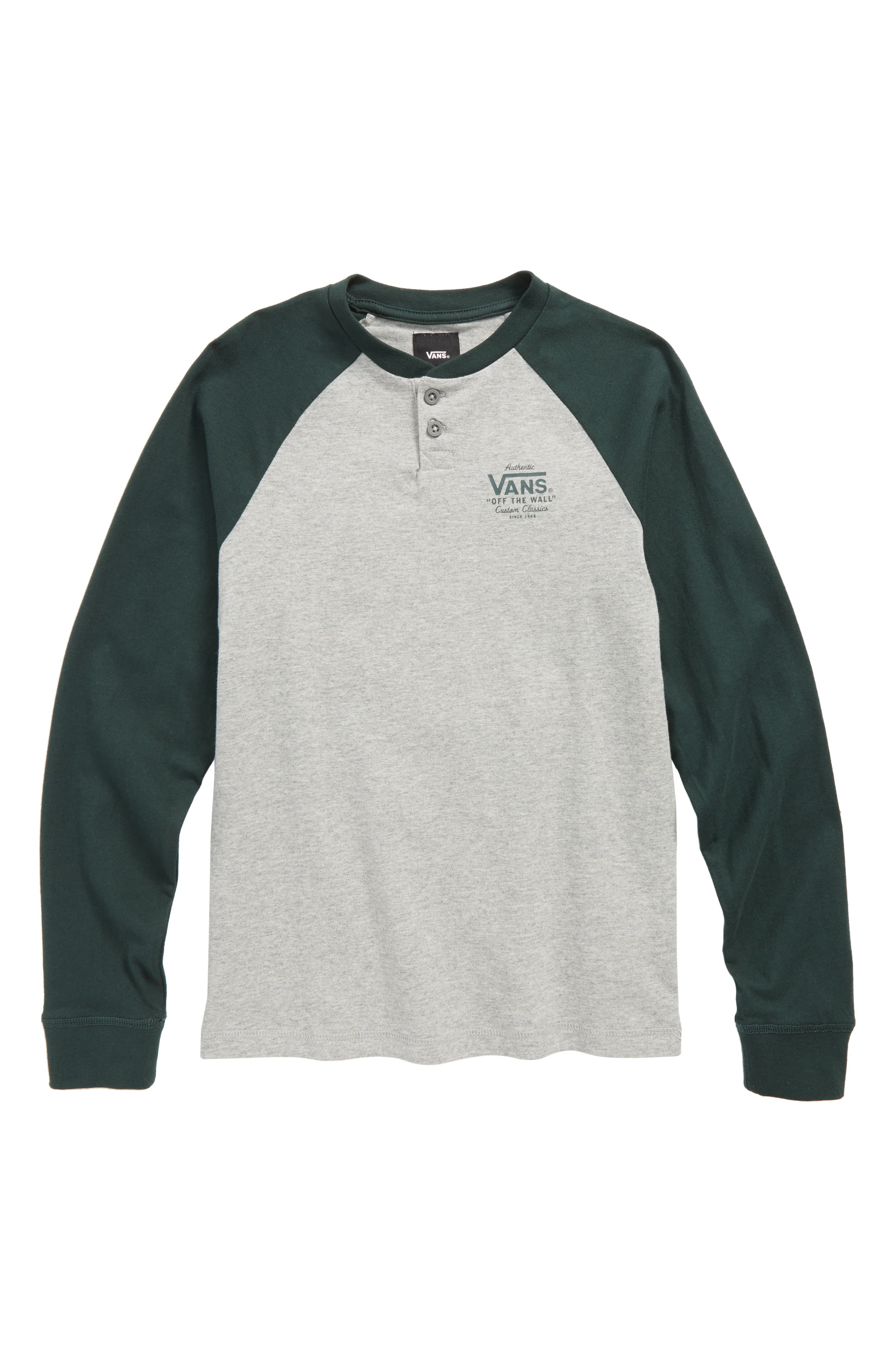Denton Henley T-Shirt,                         Main,                         color, Cement Heather/ Vans Scarab