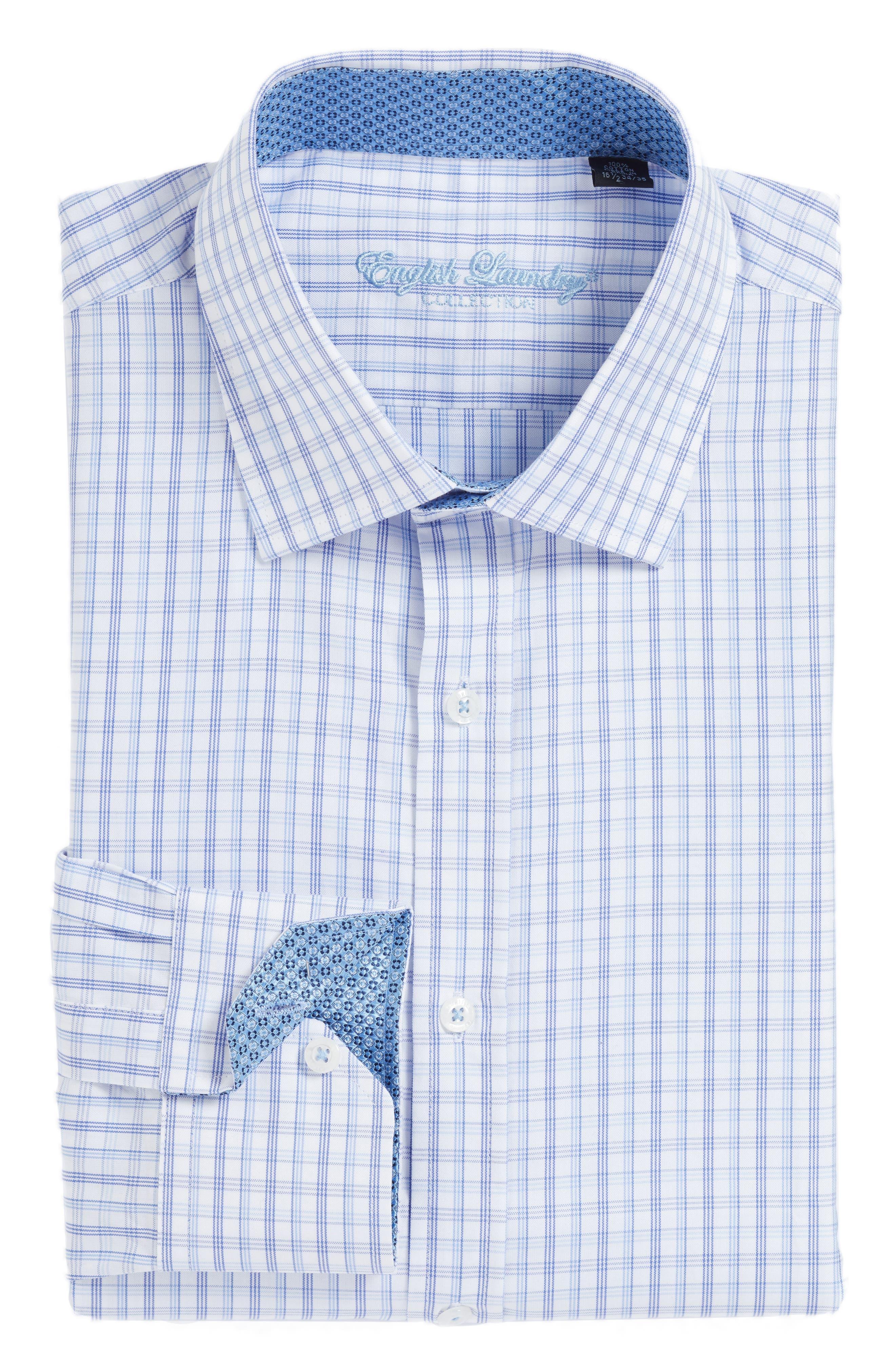English Laundry Trim Fit Plaid Dress Shirt