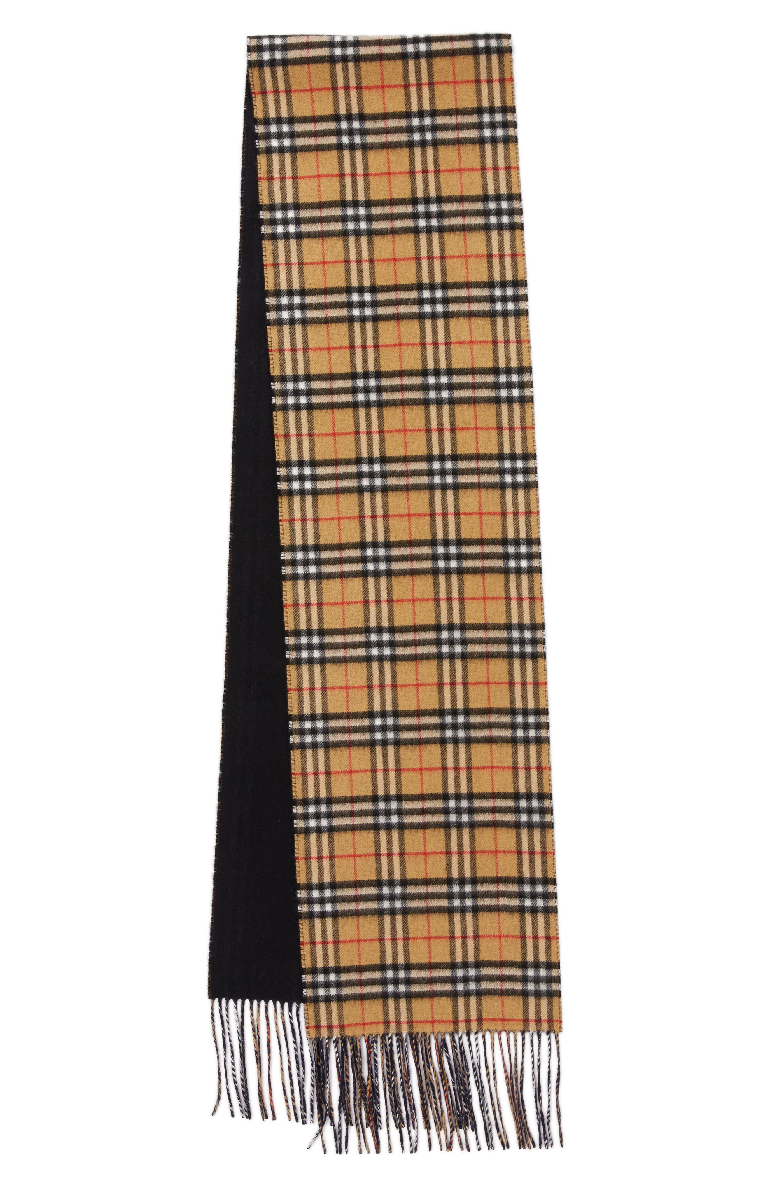 Reversible Vintage Check Cashmere Scarf,                             Alternate thumbnail 2, color,                             Blue Carbon