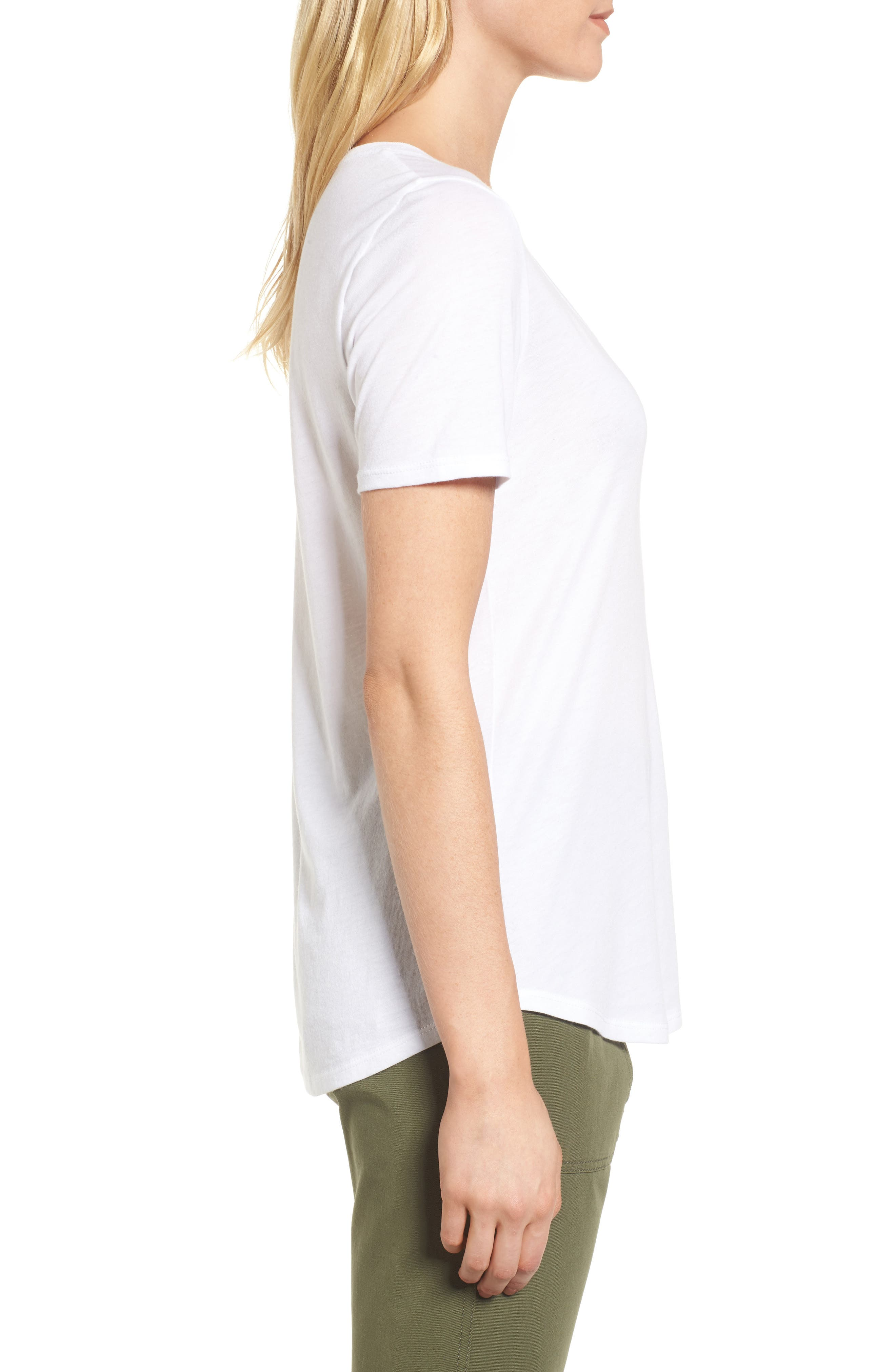 Scoop Neck Tee,                             Alternate thumbnail 3, color,                             White
