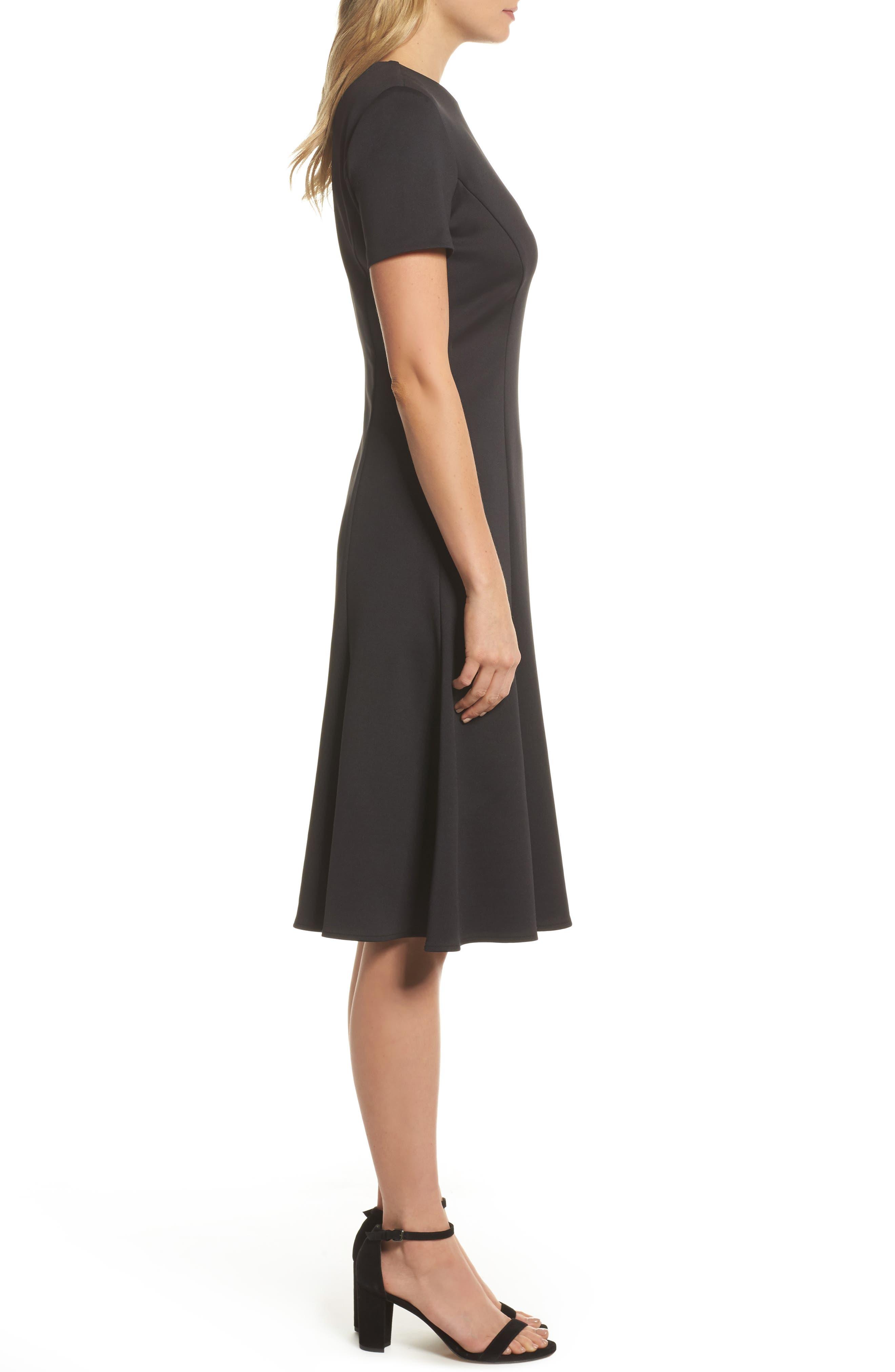Midi Bell Dress,                             Alternate thumbnail 3, color,                             Black