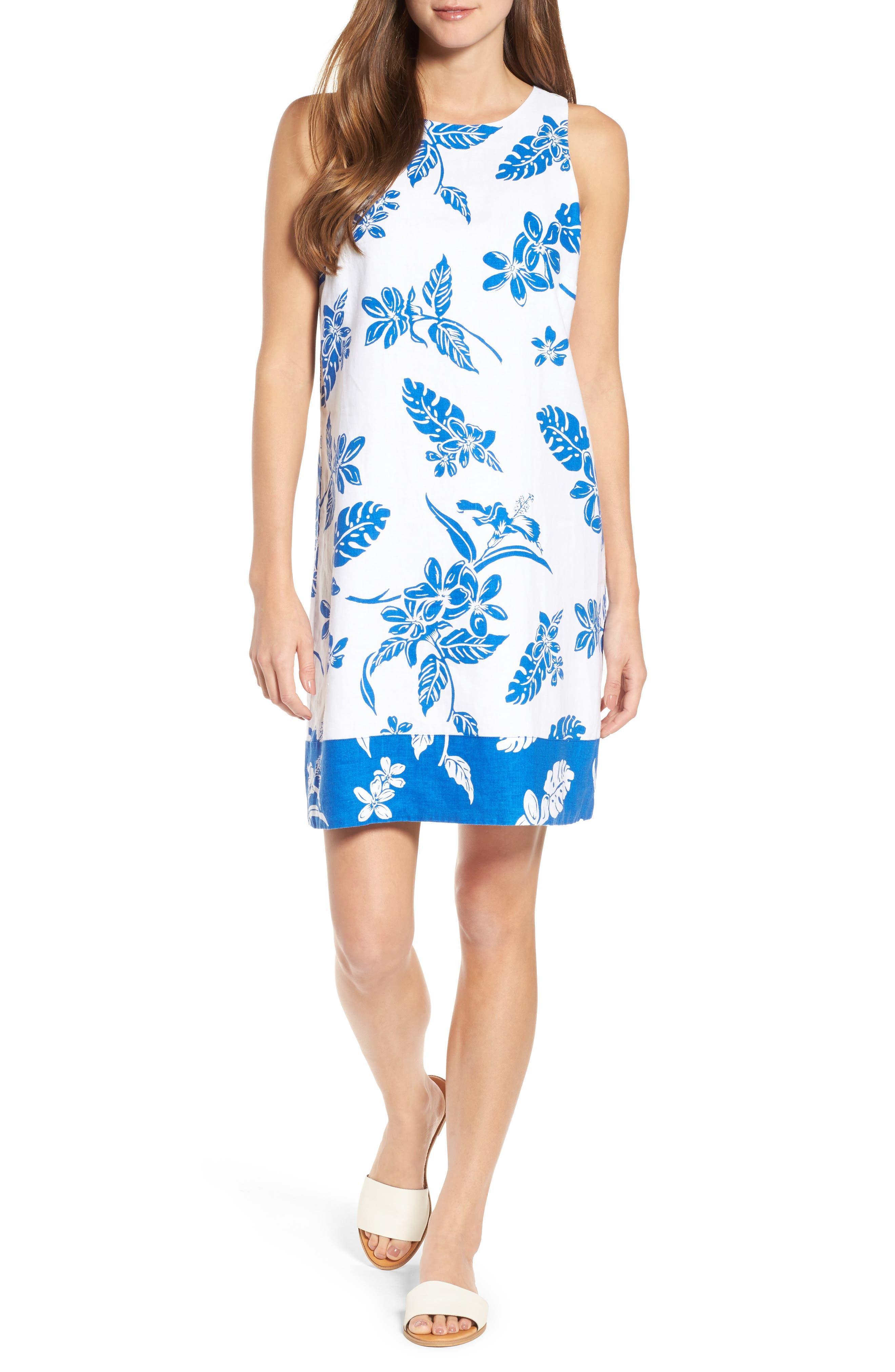 Hibiscus Hiatus Reverse Hem Shift Dress,                         Main,                         color, White/ Cobalt
