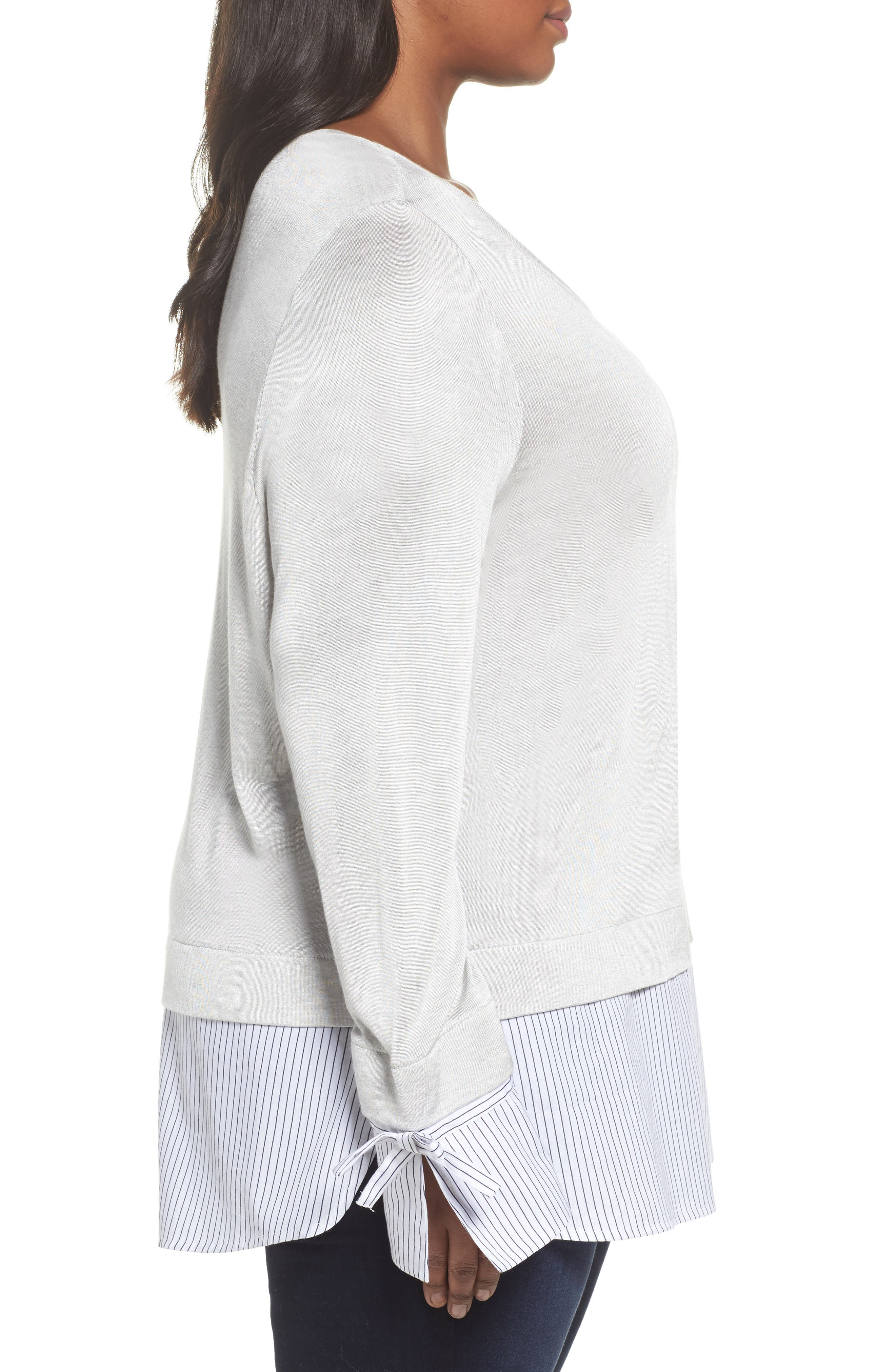 Mix Media Tie Cuff Top,                             Alternate thumbnail 3, color,                             Grey Heather Combo