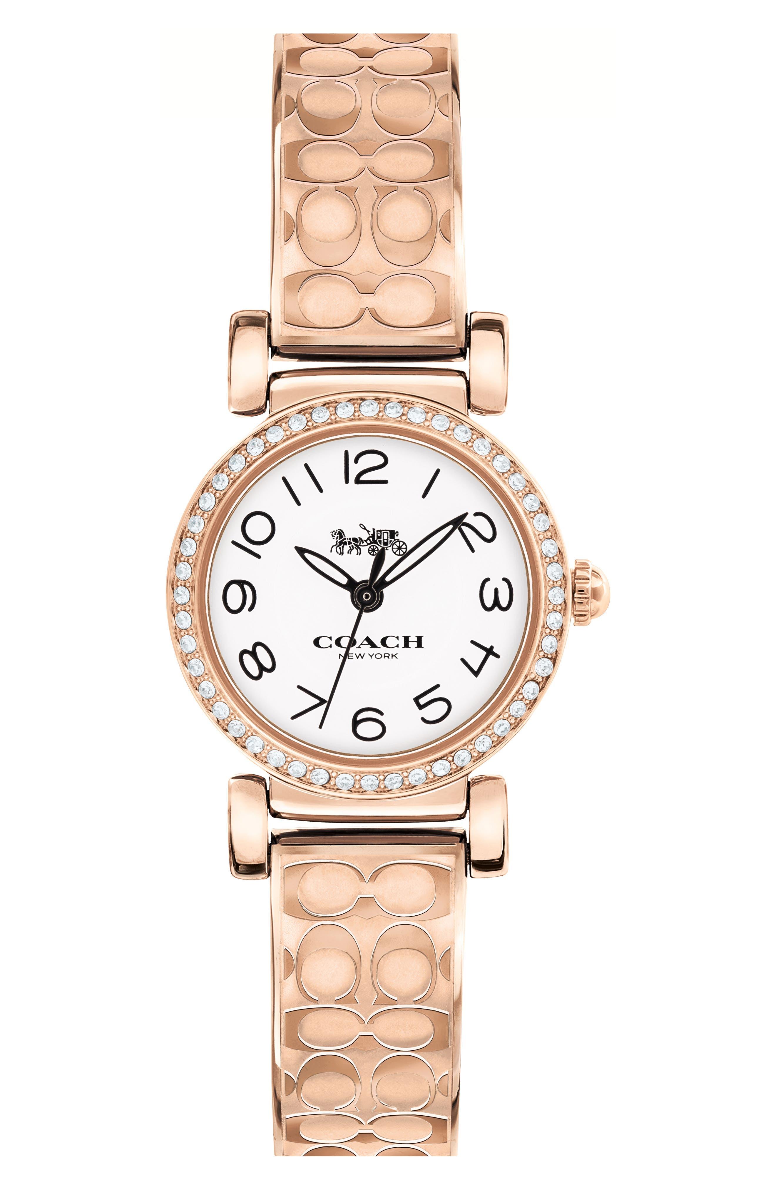 Madison Crystal Bracelet Watch, 23mm,                         Main,                         color, Rose Gold/ White/ Rose Gold